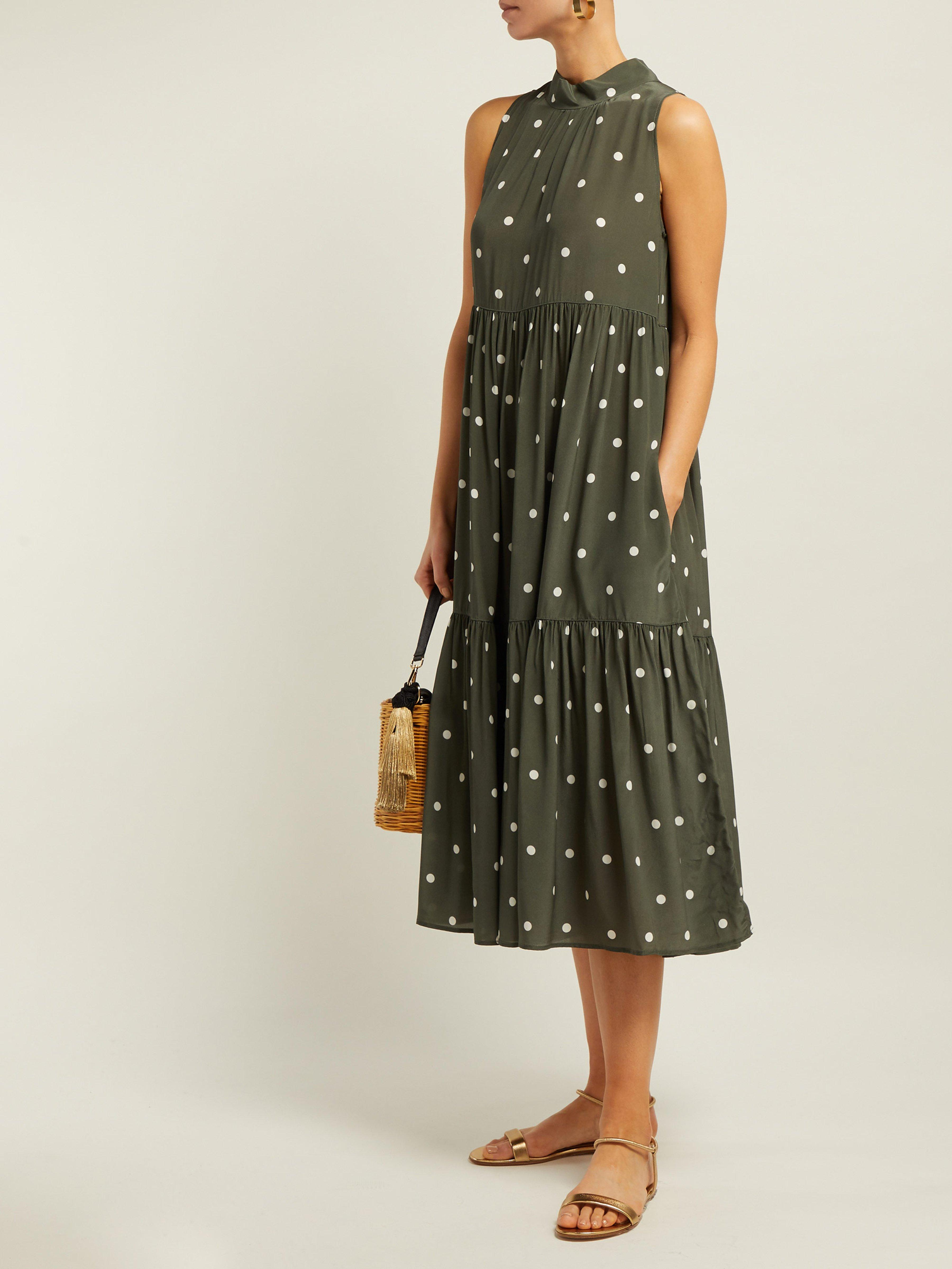 Asceno Dress Midi Silk Lyst Save 19 In Tiered Dot Crepe Polka Green rwYqHafr
