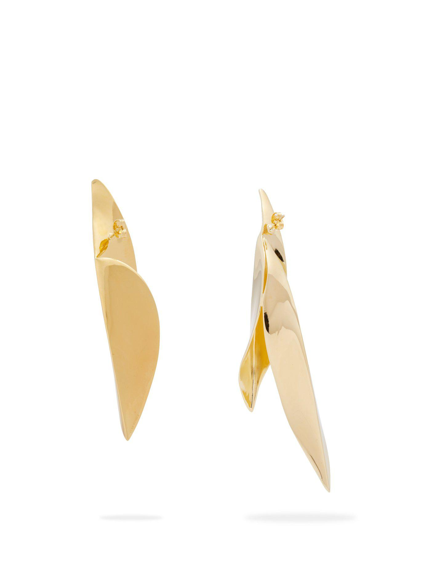 Ryan Storer Sansevieria gold-plated mismatched earrings mcfzaiL2