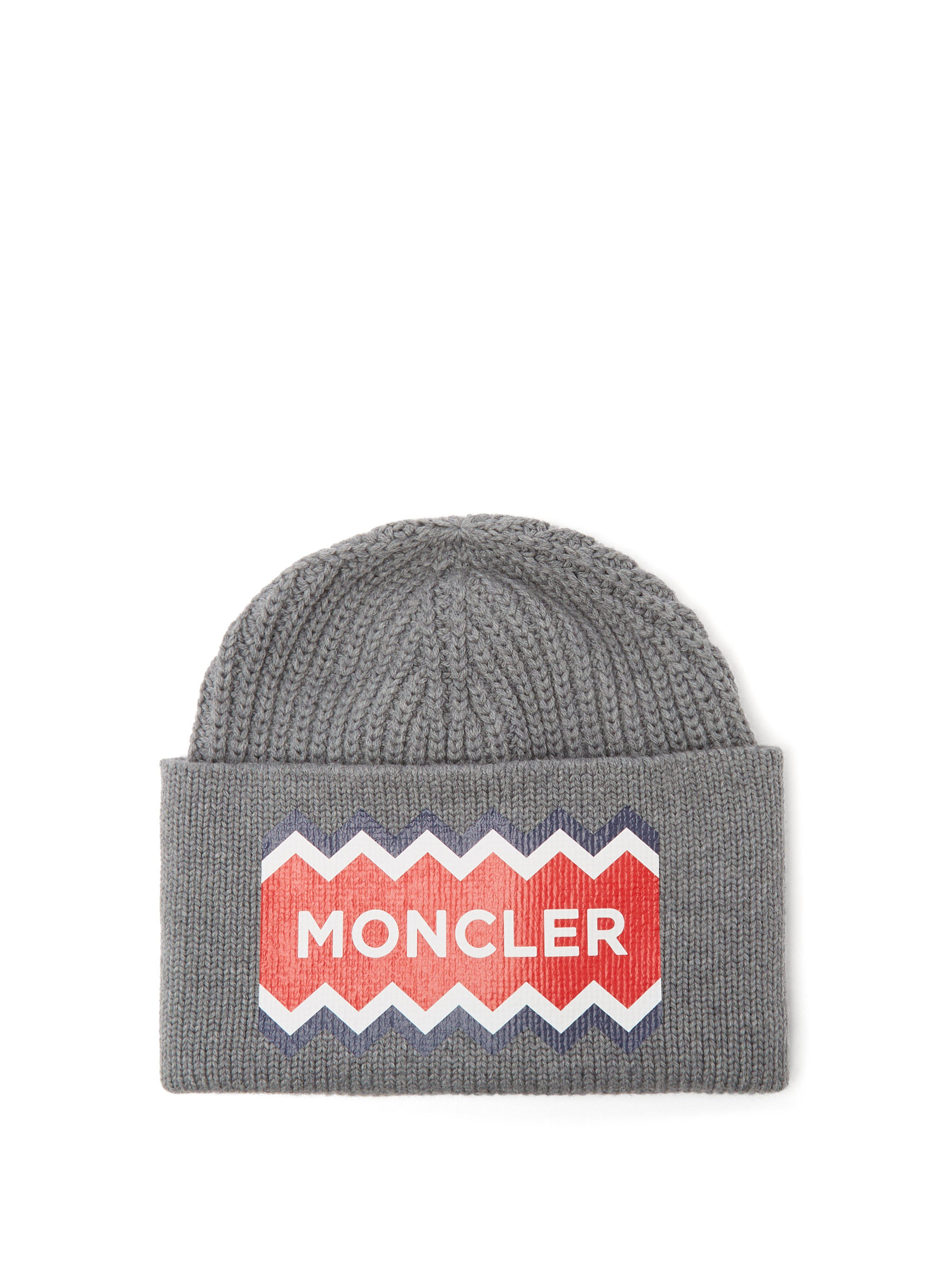 82cf1368d6f Moncler - Gray Logo Print Wool Beanie Hat for Men - Lyst. View fullscreen