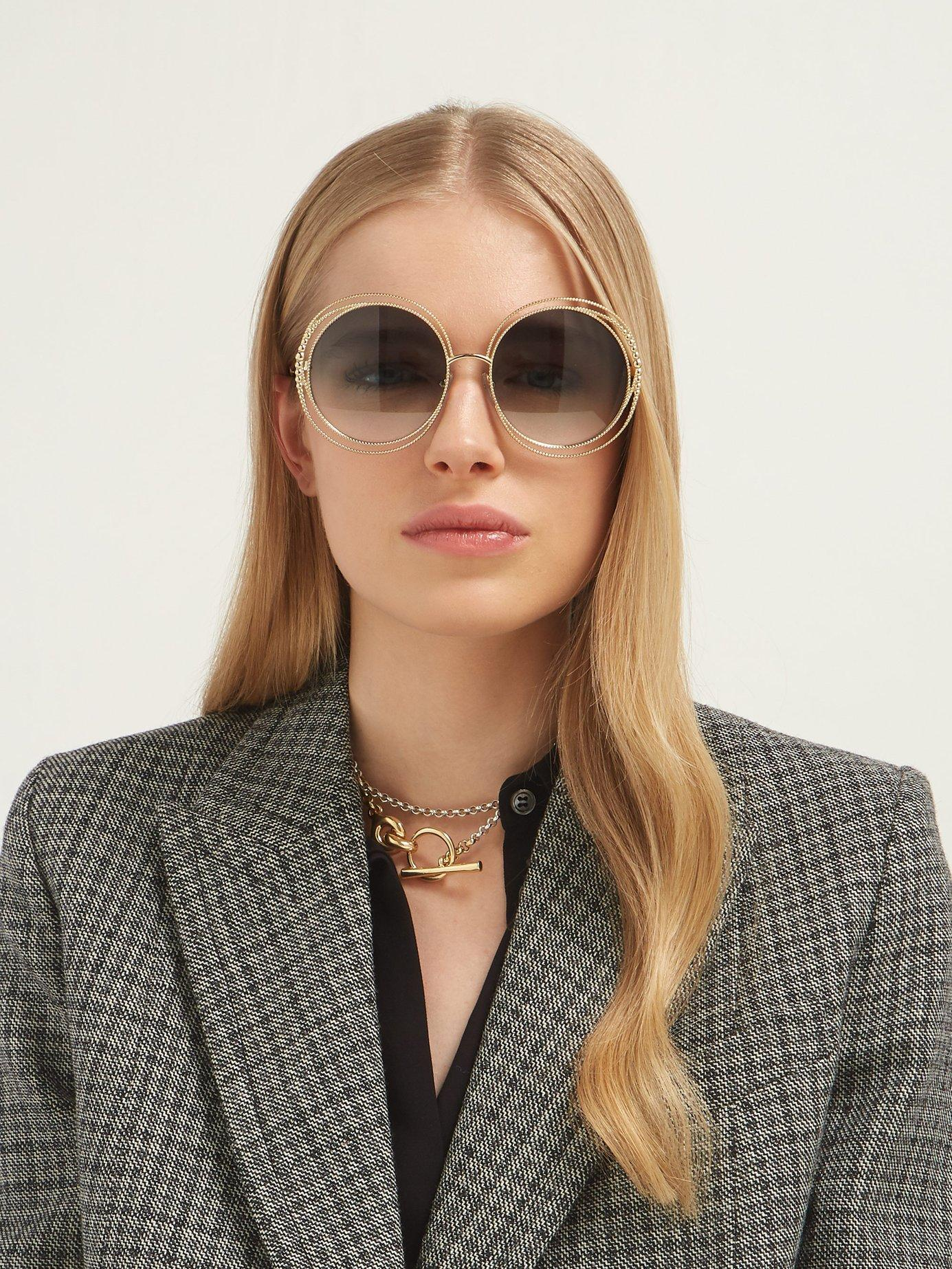 dc276471423b8 Lyst - Chloé Carlina Chain Frame Oversized Round Sunglasses in Green