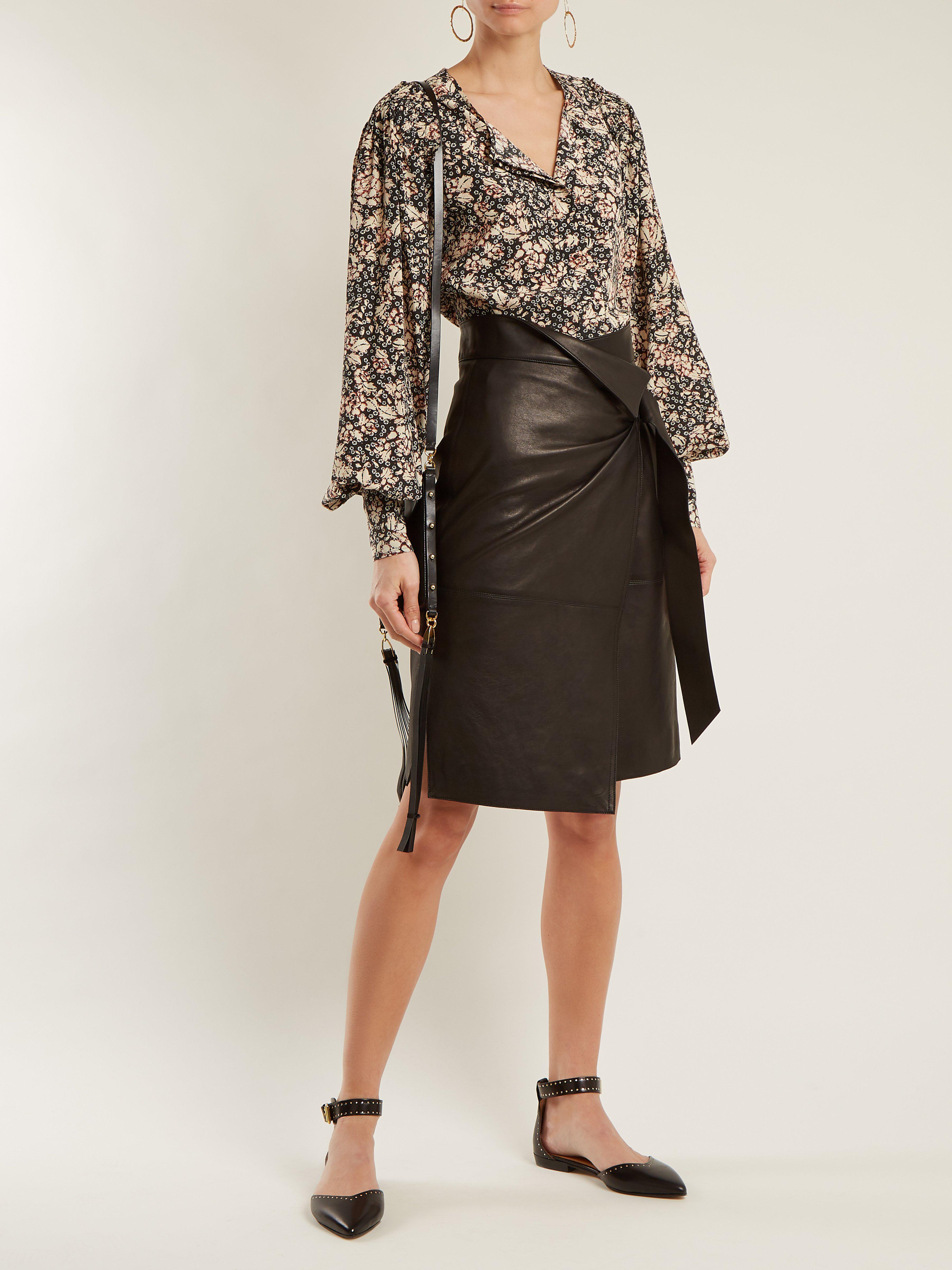 d4bb5449ed8 Isabel Marant Lya Stud-embellished Point-toe Leather Flats in Black ...