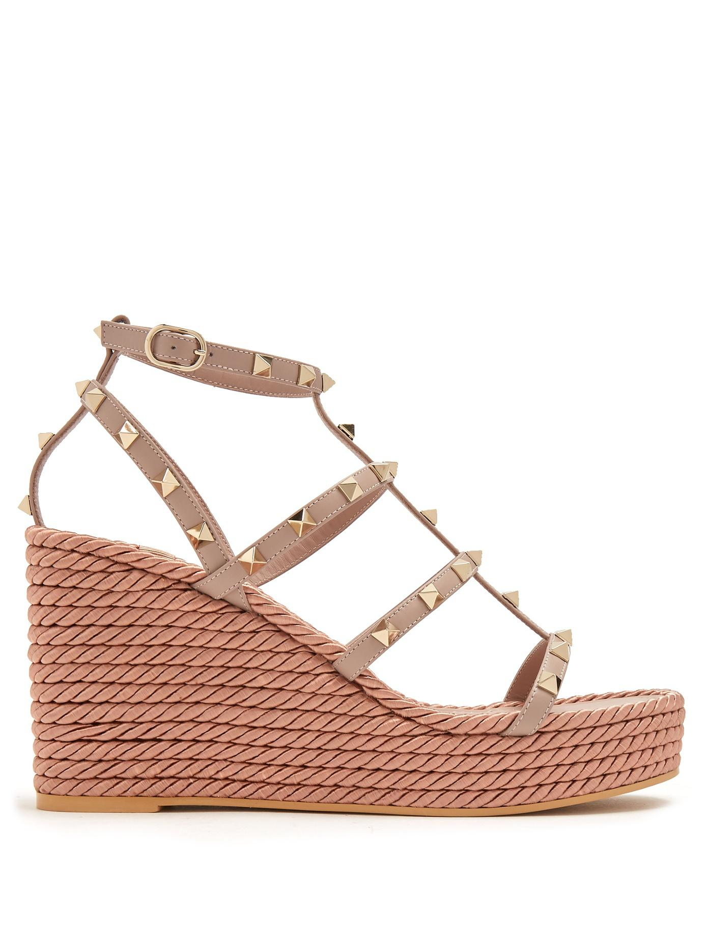 8e9d9f4109ba Valentino Torchon Rockstud Leather Wedge Sandals - Lyst