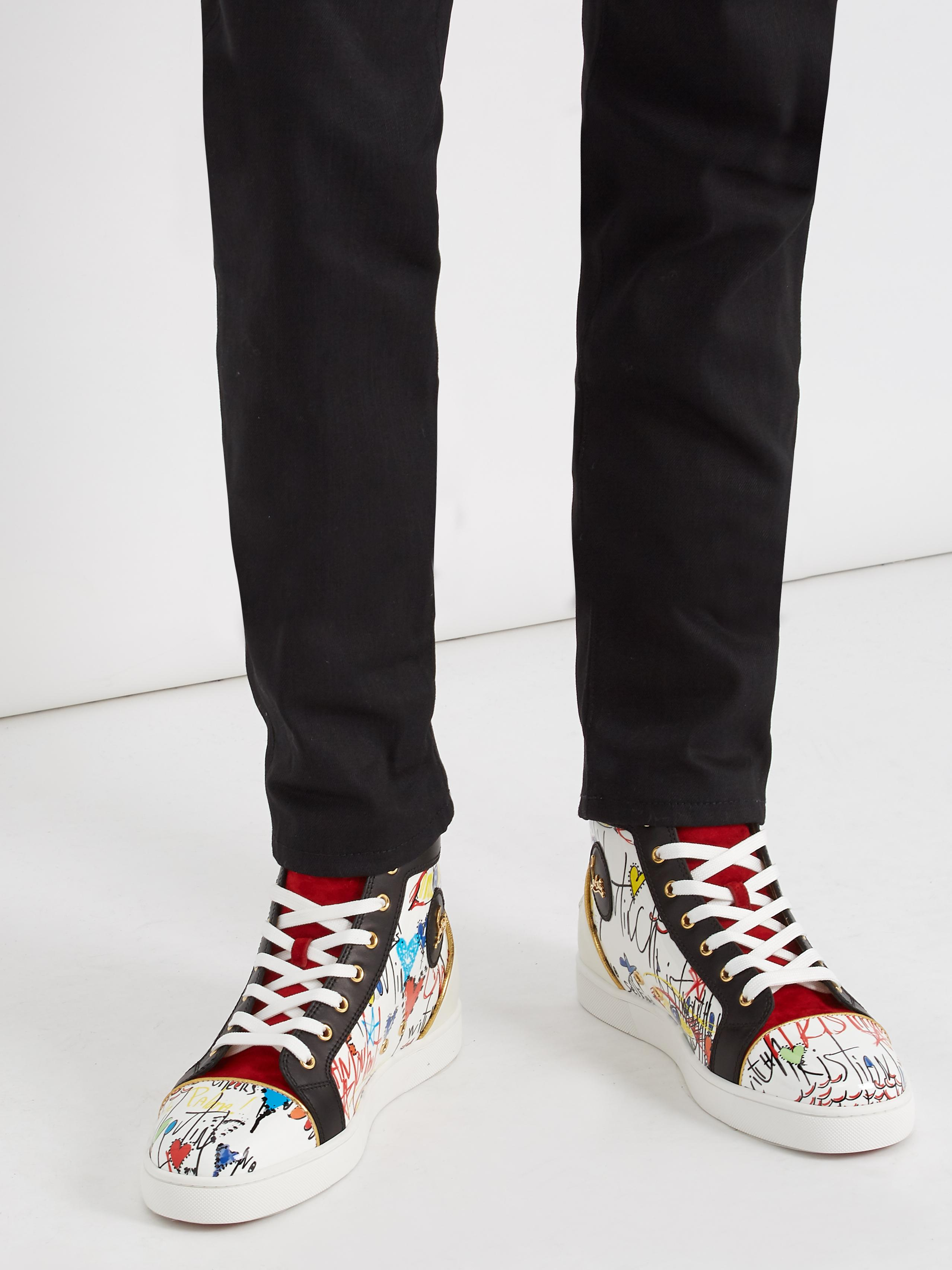 c3c0c52904d5 Lyst - Christian Louboutin Louis High-top Loubi Tag-printed Leather ...