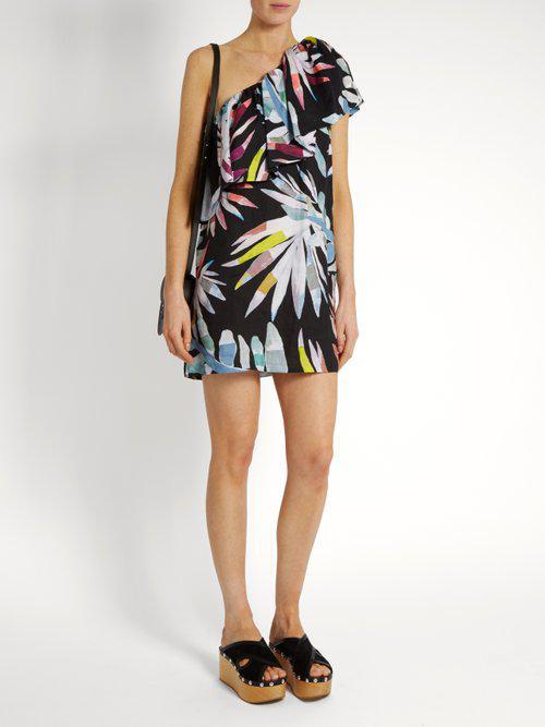b6b5d7b4a99 Lyst - Mara Hoffman Xylophone Black-print One-shoulder Linen Dress ...