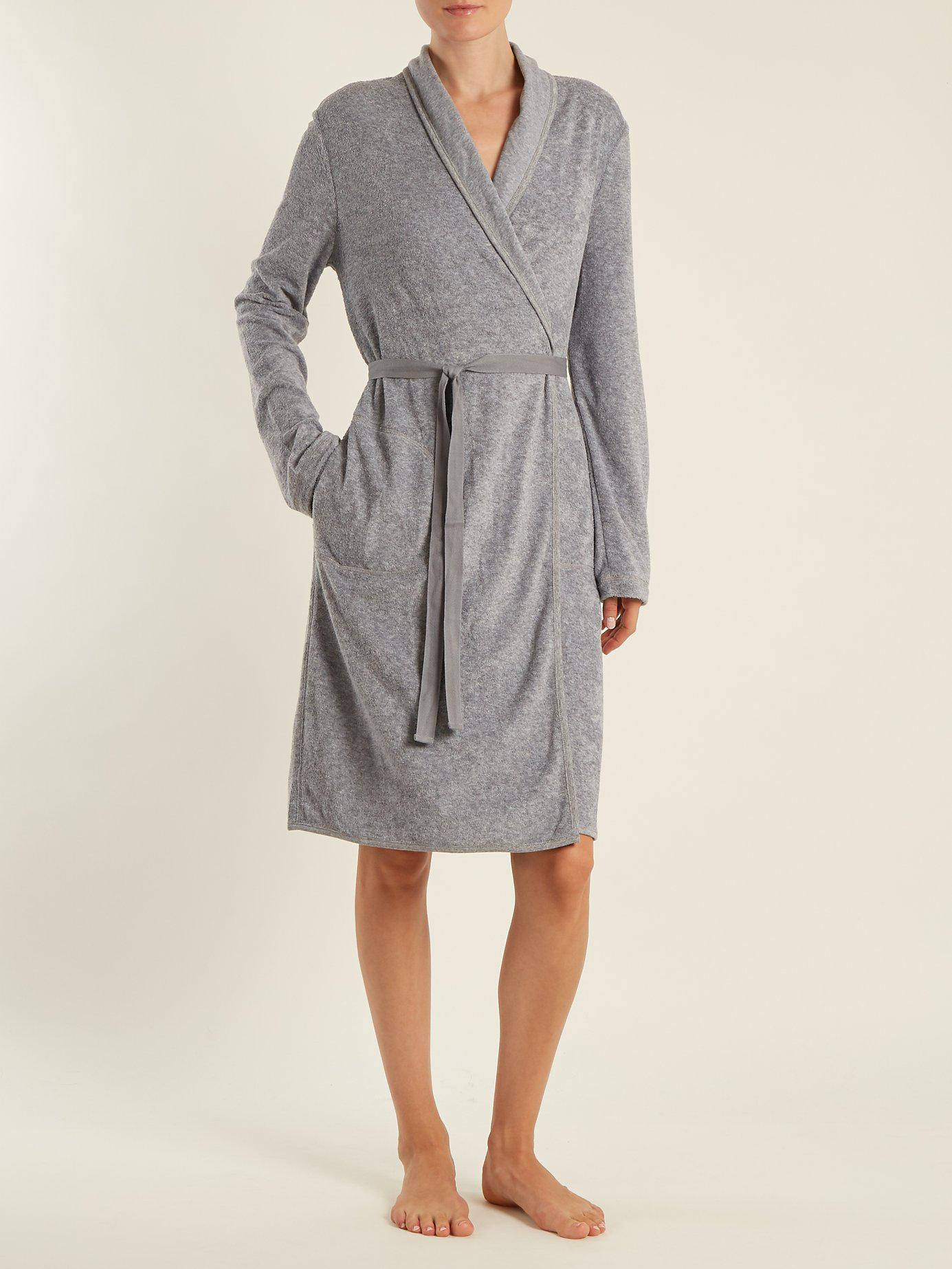 Lyst - Skin French Terry-towelling Robe in Gray 30b77912f
