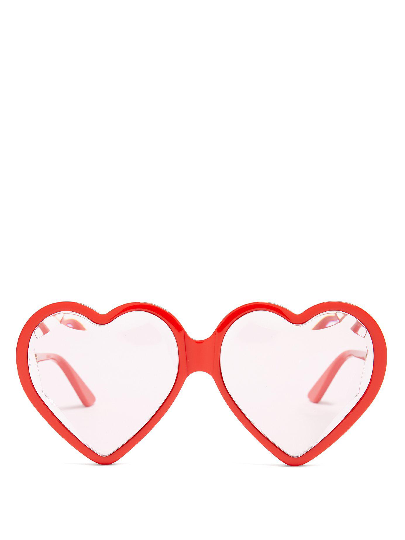 2134784d7f3 Lyst - Gucci Heart Shaped Frame Sunglasses in Red