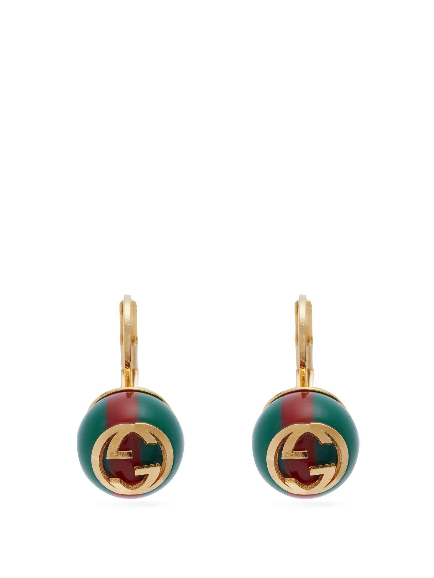 c0a36d8b2d5 Lyst - Gucci Gg Web Stripe Earrings in Green - Save 69%