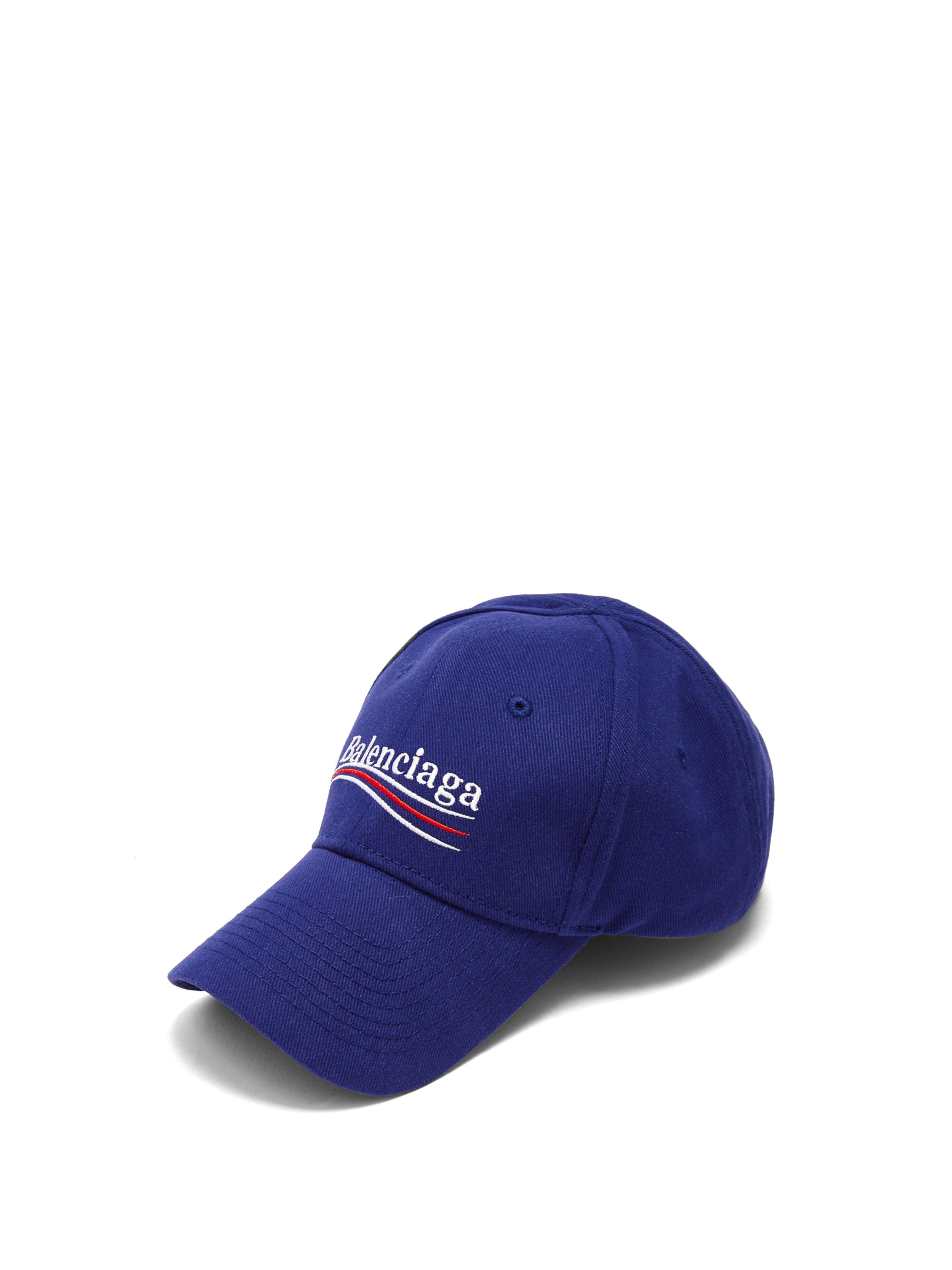497744502f9 Balenciaga - Blue Embroidered Cotton-twill Baseball Cap - Lyst. View  fullscreen