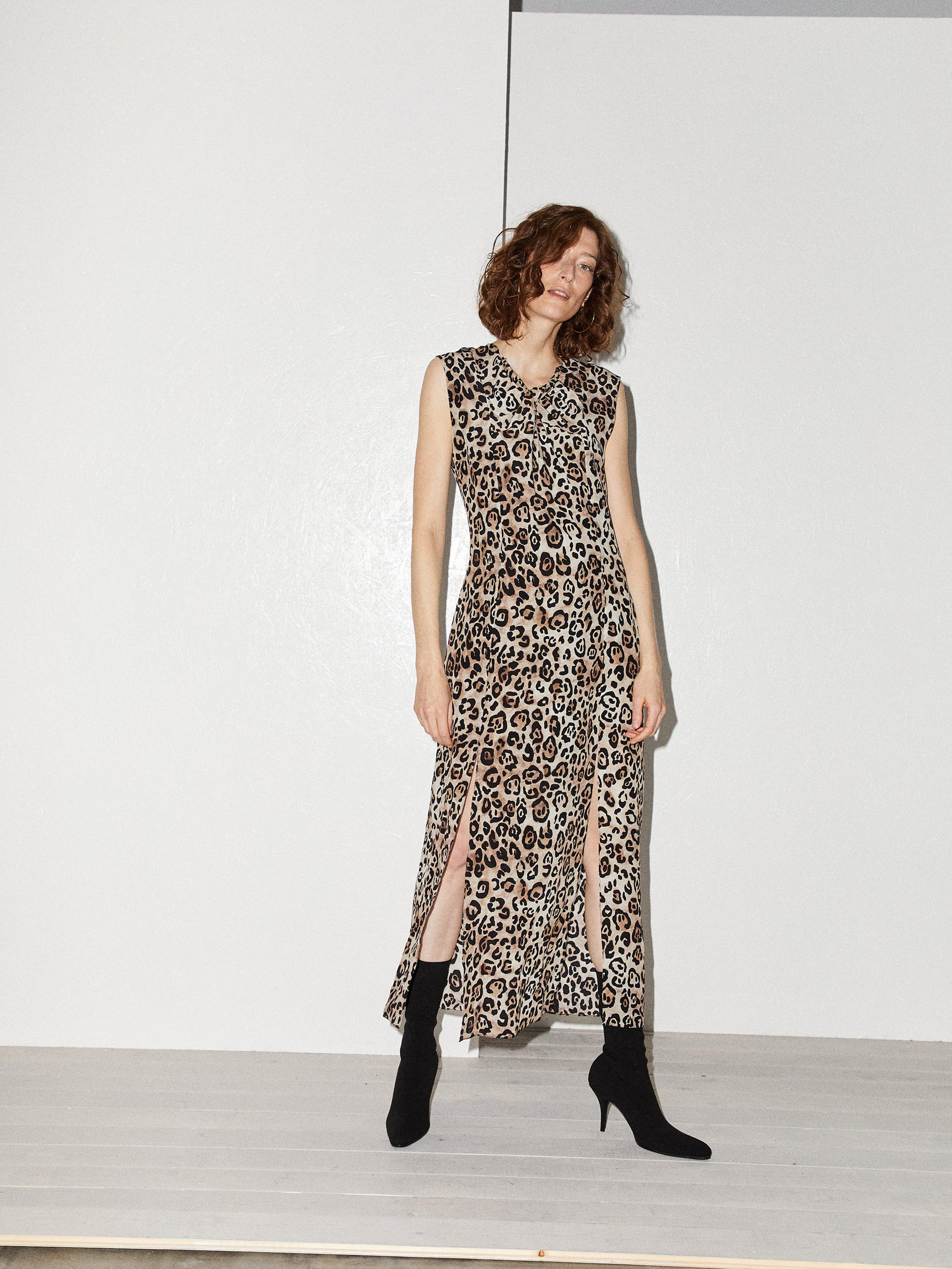 b6cac9f559 Raey - Multicolor Knot Front Leopard Print Silk Dress - Lyst. View  fullscreen