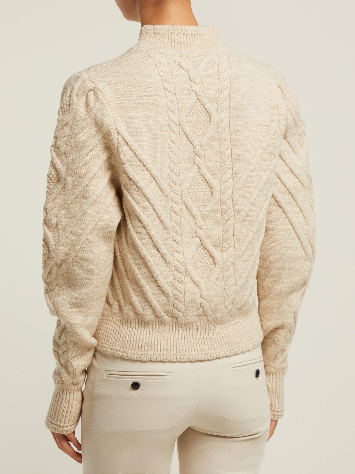 64020d5180 Isabel Marant - White Brantley Aran Knit Wool Blend Sweater - Lyst. View  fullscreen