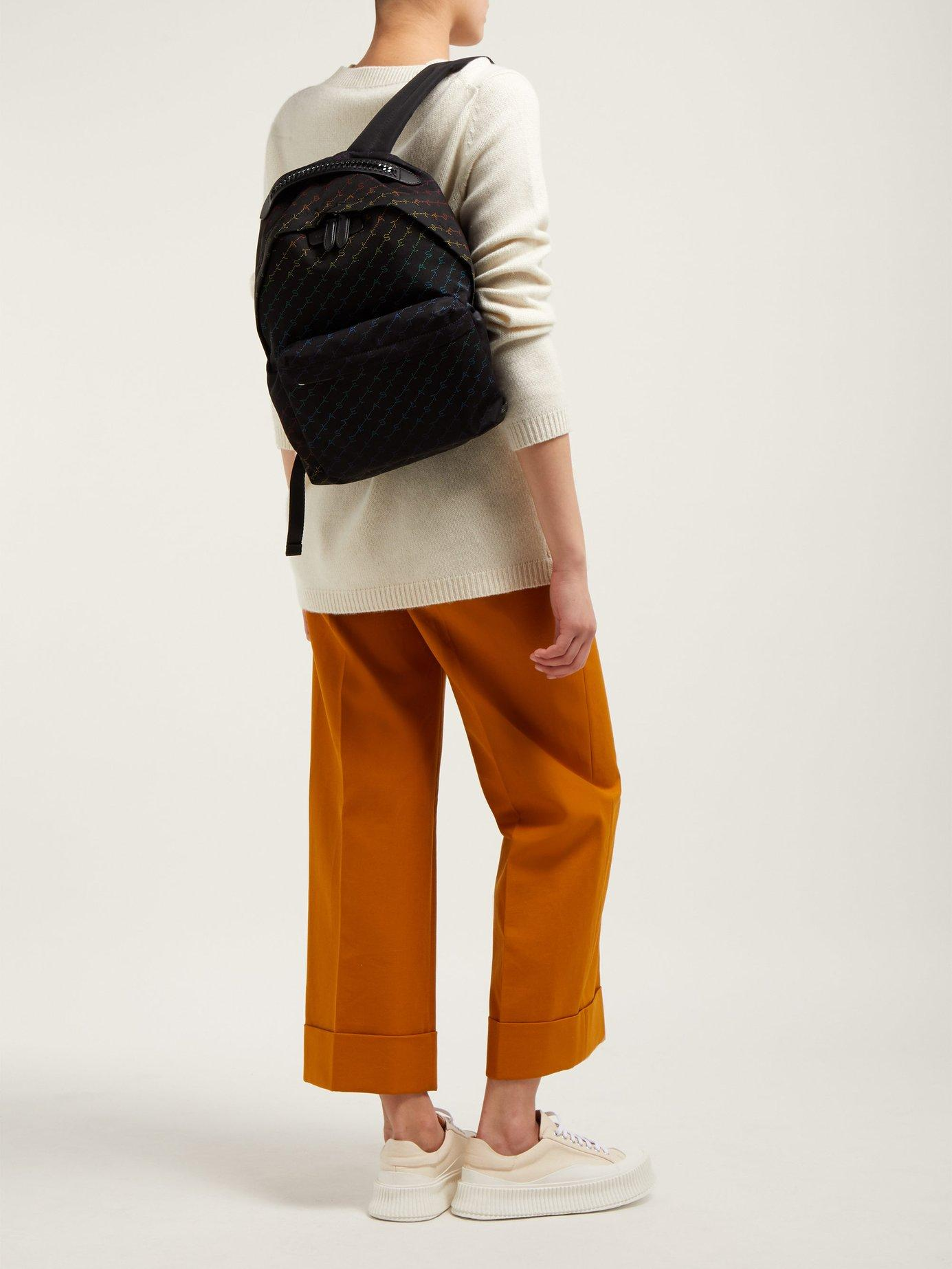 29d1bee4d8f0 Stella McCartney - Black Falabella Rainbow Logo Print Nylon Backpack -  Lyst. View fullscreen