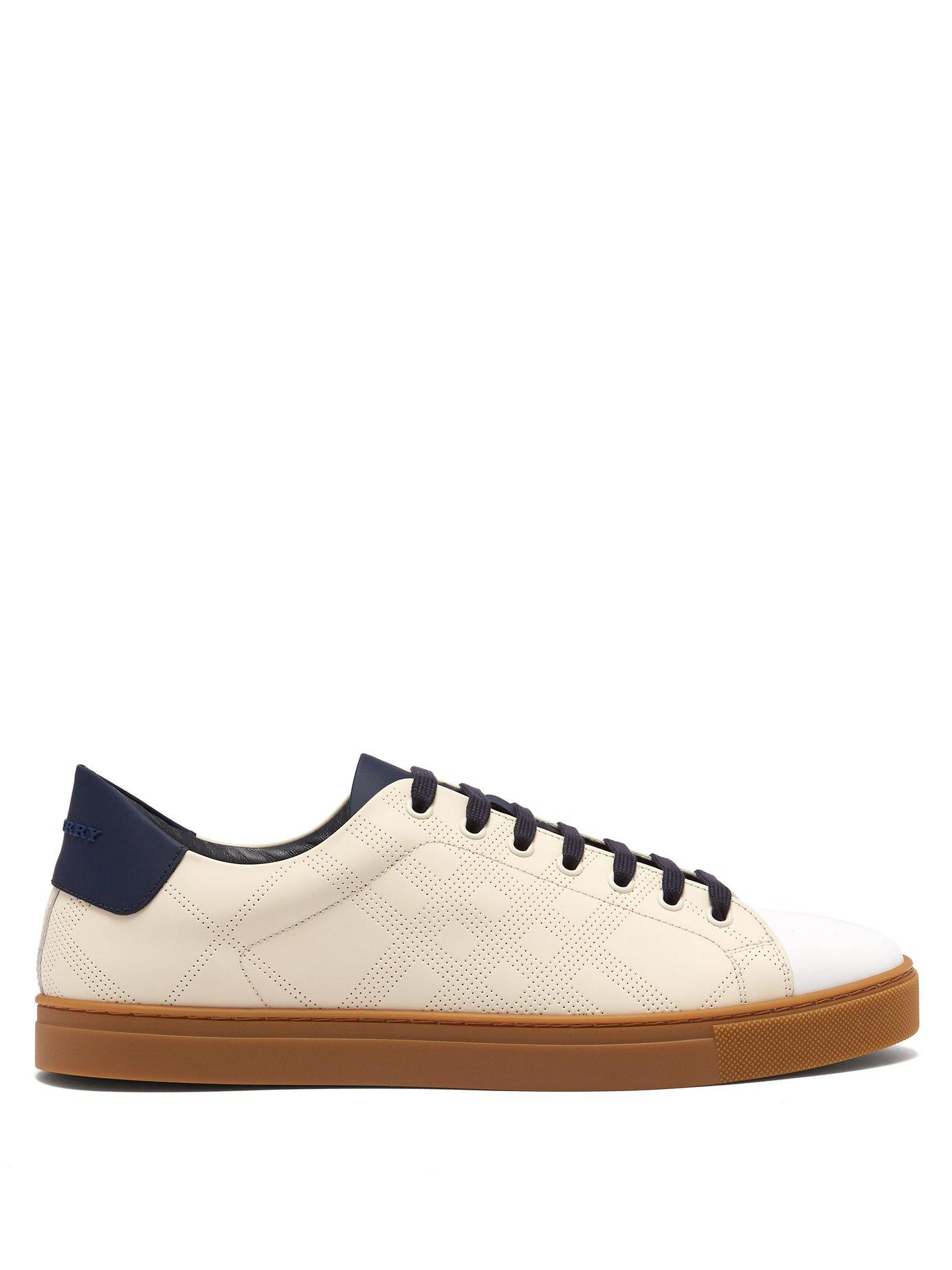 8fcaf33ed796 Lyst - Burberry Albert Perforated Low Top Leather Trainers for Men