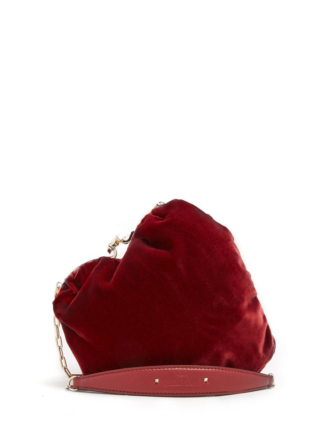 Valentino Pochette caur en velours et perles Carry Secrets gGXhtqT