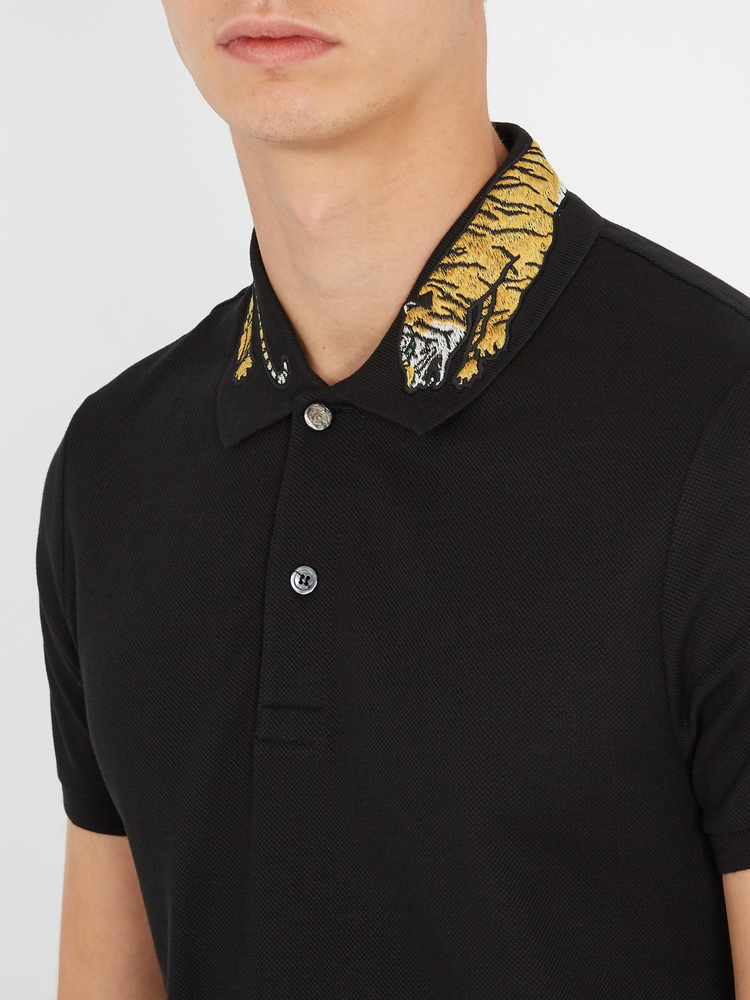 d3ecea6179ebe8 Gucci Tiger-appliqué Cotton-blend Piqué Polo Shirt in Black for Men ...