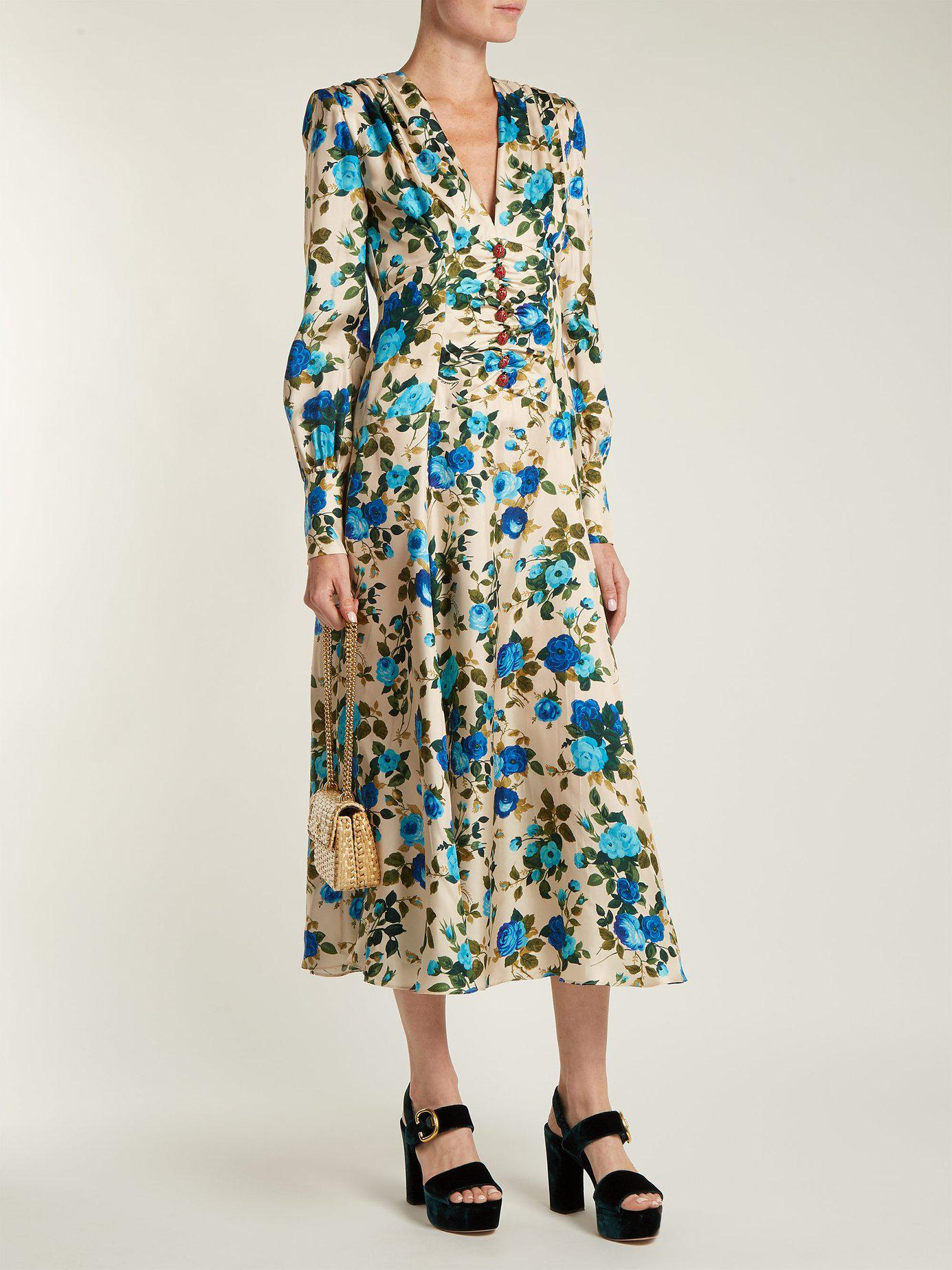 1378267ab Lyst - Gucci Rose Print Silk Twill Midi Dress