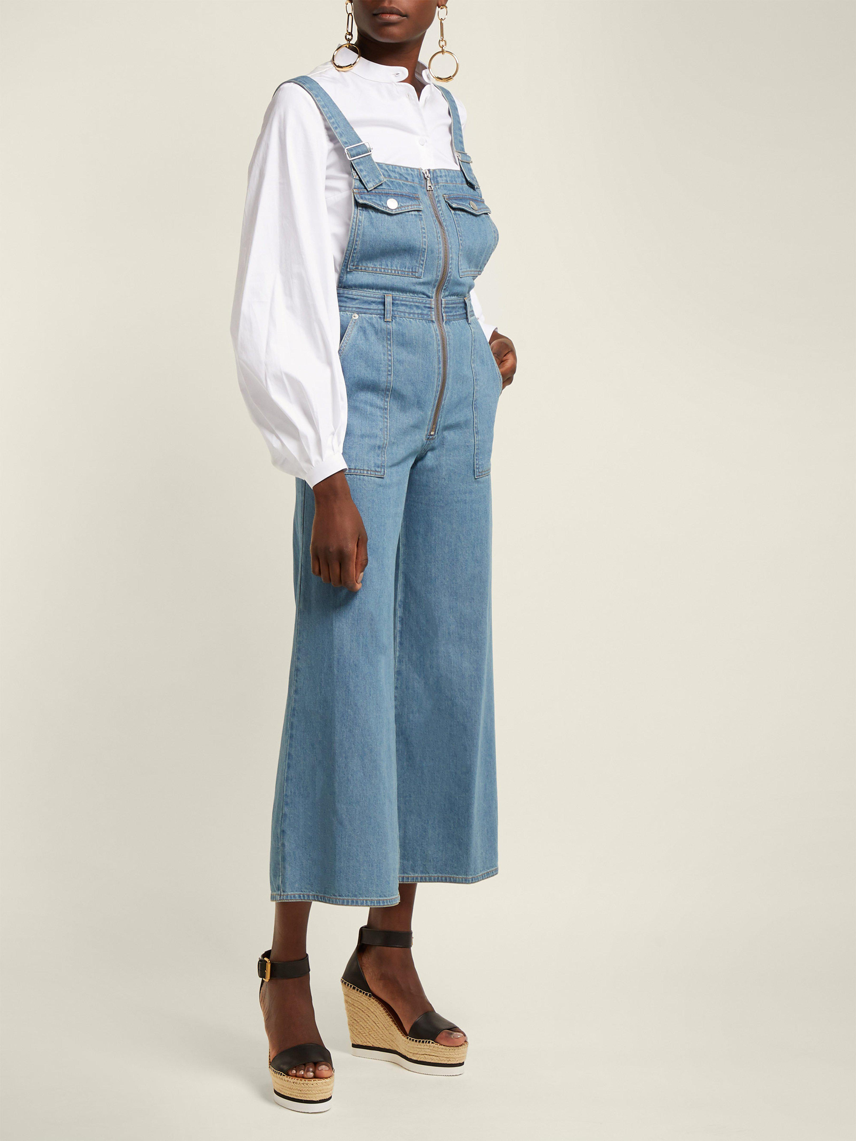 bdab036537 Sea - Blue Washed Denim Wide Leg Cropped Dungarees - Lyst. View fullscreen