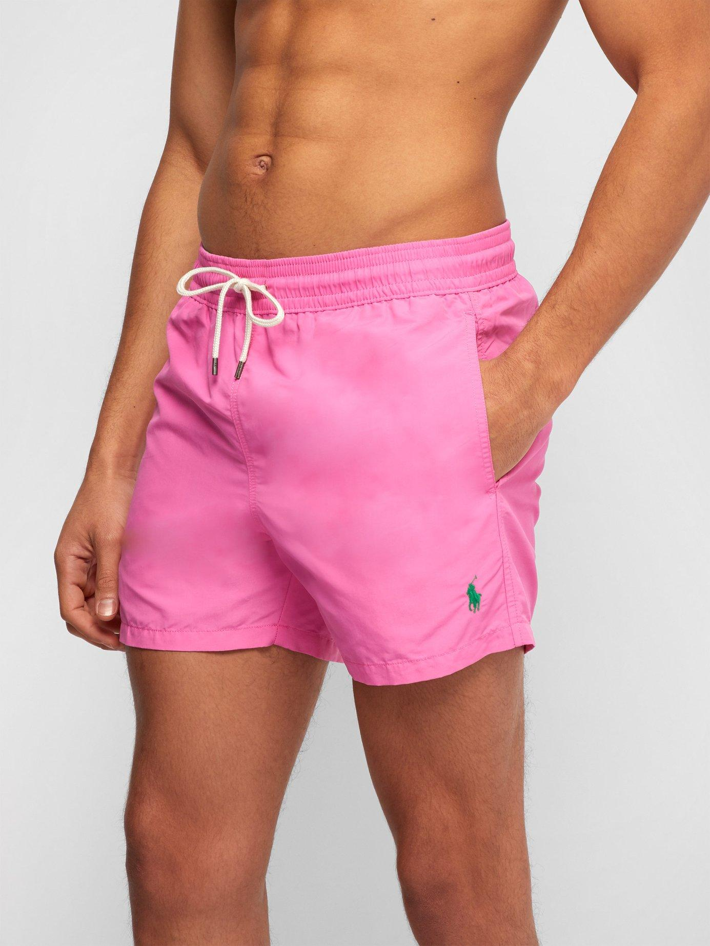 e01b06ad2eea9 Lyst - Polo Ralph Lauren Embroidered Logo Swim Shorts in Pink for Men