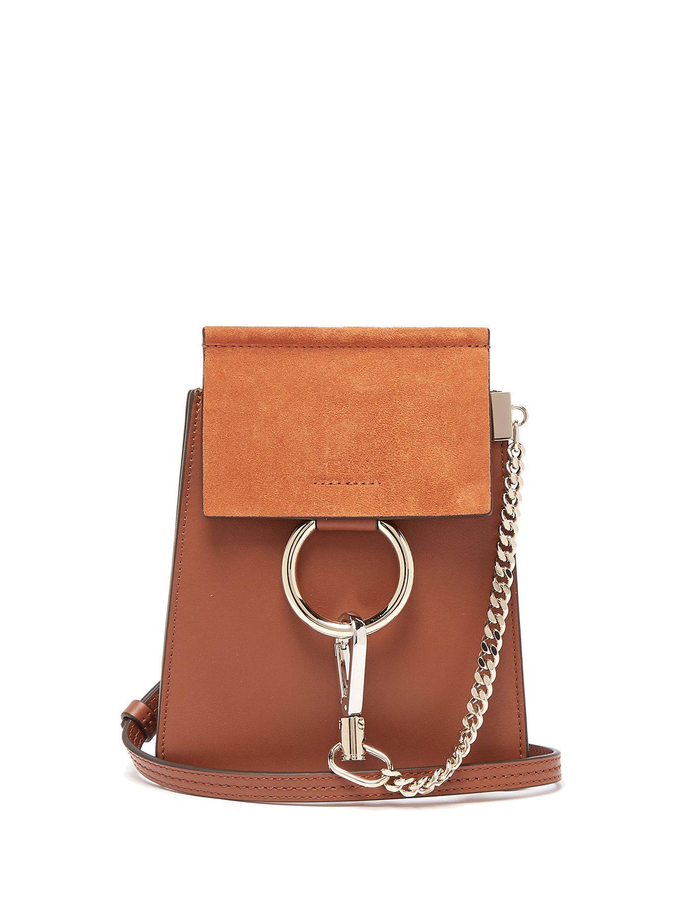 8fa21dcd61 Lyst - Chloé Faye Mini Suede Panel Leather Cross Body Bag in Brown