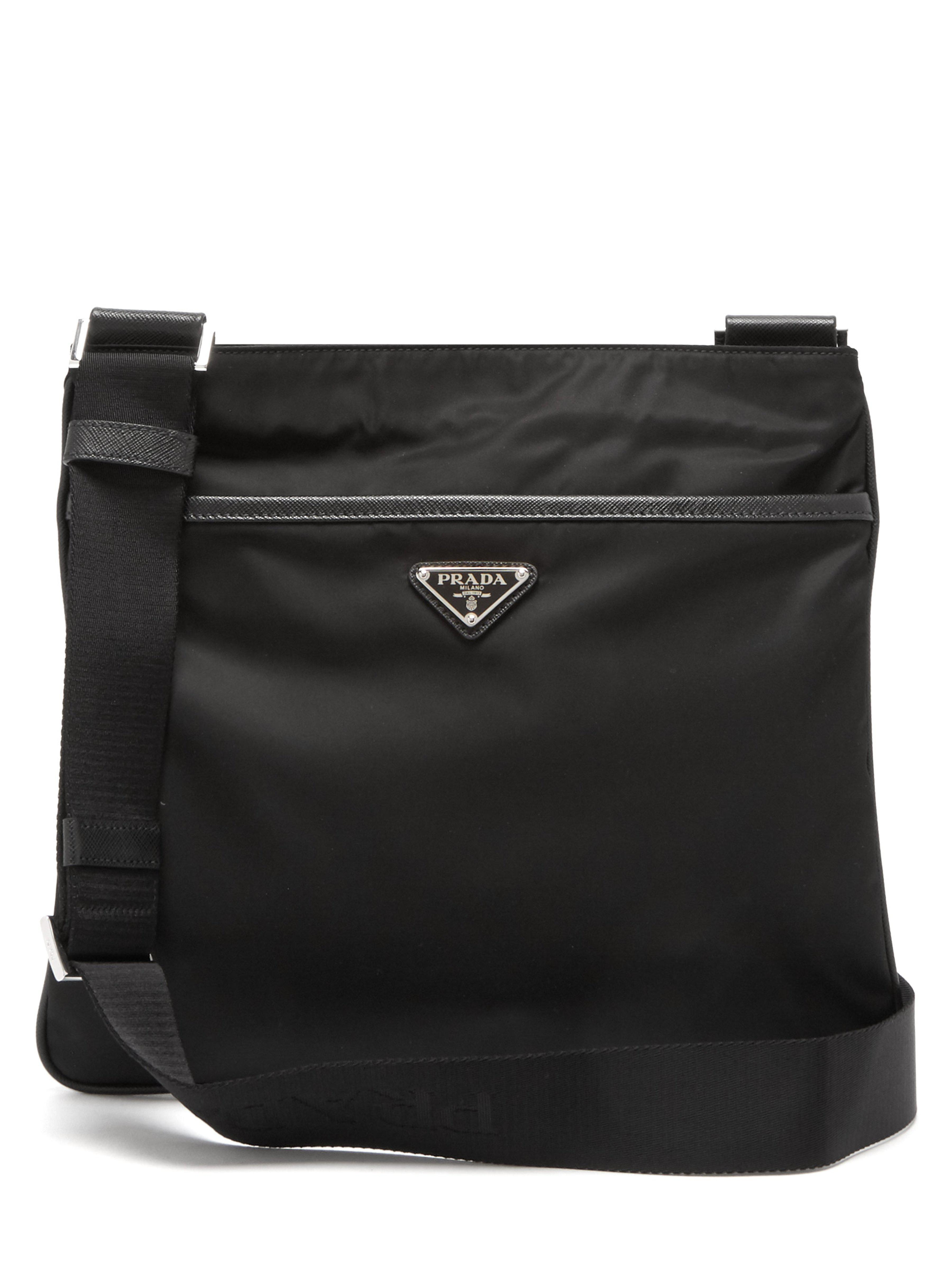 0f24d4dad53c Prada - Black Logo Messenger Bag for Men - Lyst. View fullscreen