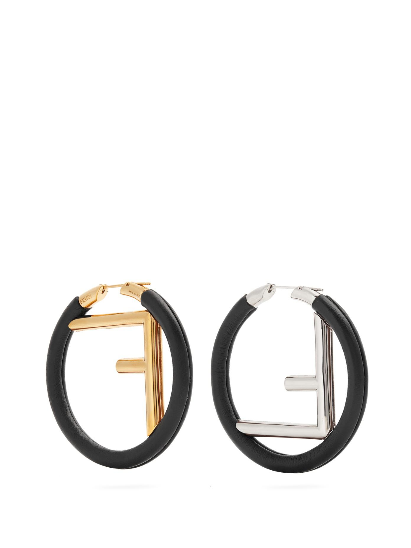 Fendi logo hoop earrings - Black g60xd