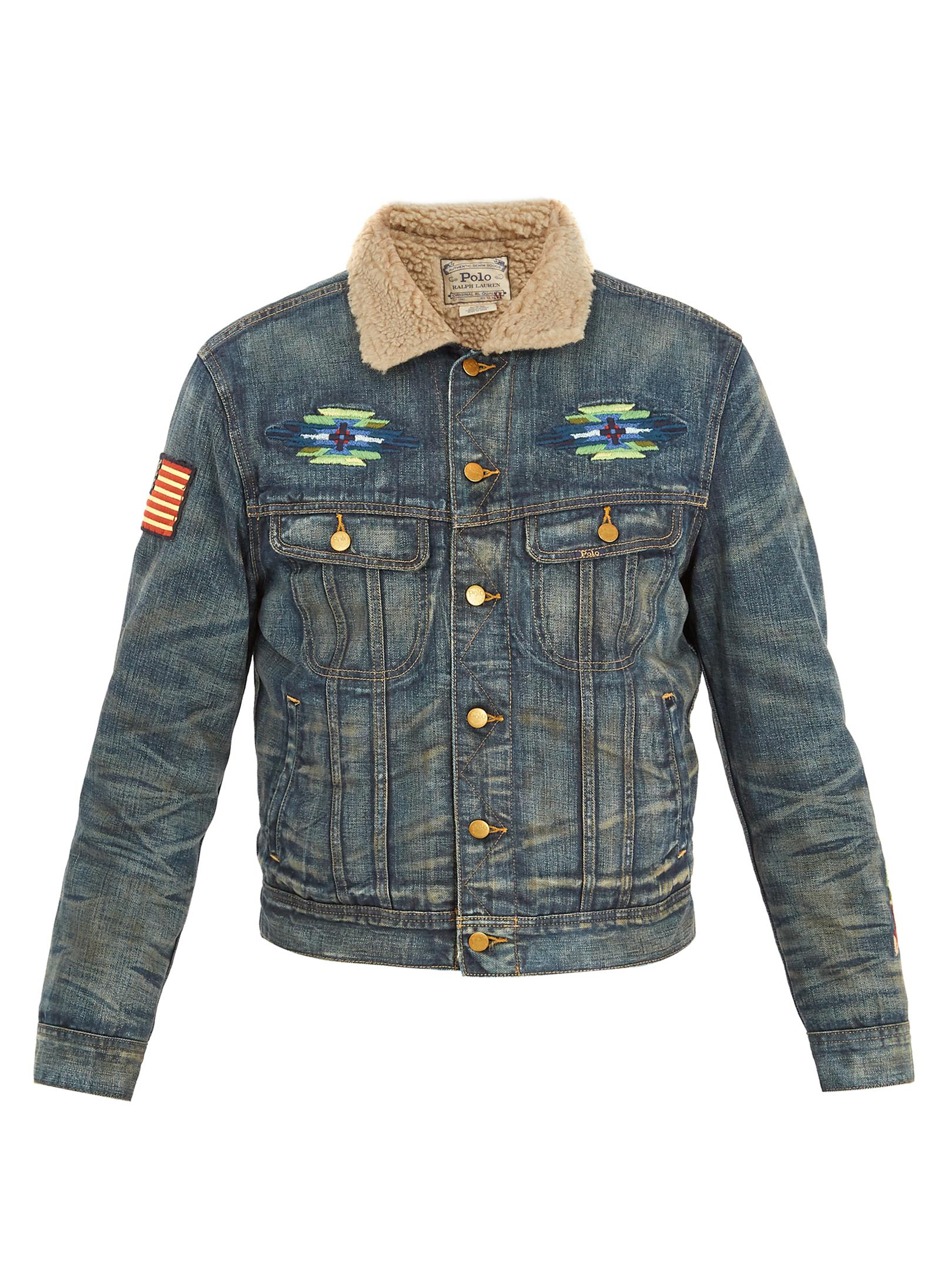18f08b79e5 Lyst - Polo Ralph Lauren Faux Shearling-collar Denim Jacket in Blue ...