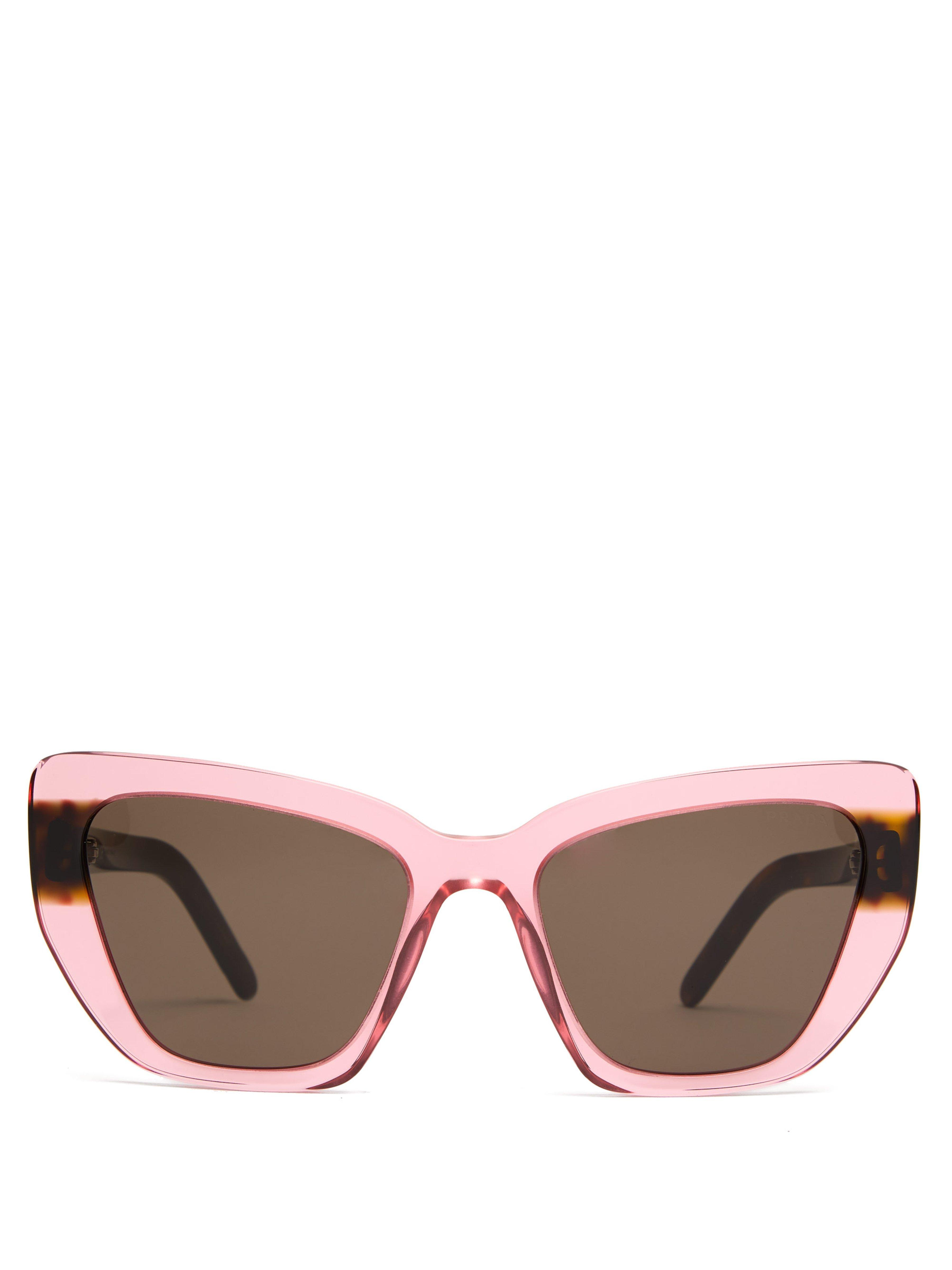 cd554234a0a Prada Winged Cat Eye Acetate Sunglasses in Pink - Lyst