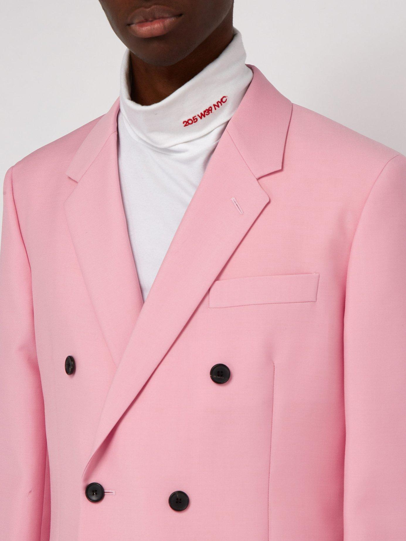 92233e0c2f13 CALVIN KLEIN 205W39NYC - Pink Double Breasted Mohair Blend Blazer for Men -  Lyst. View fullscreen