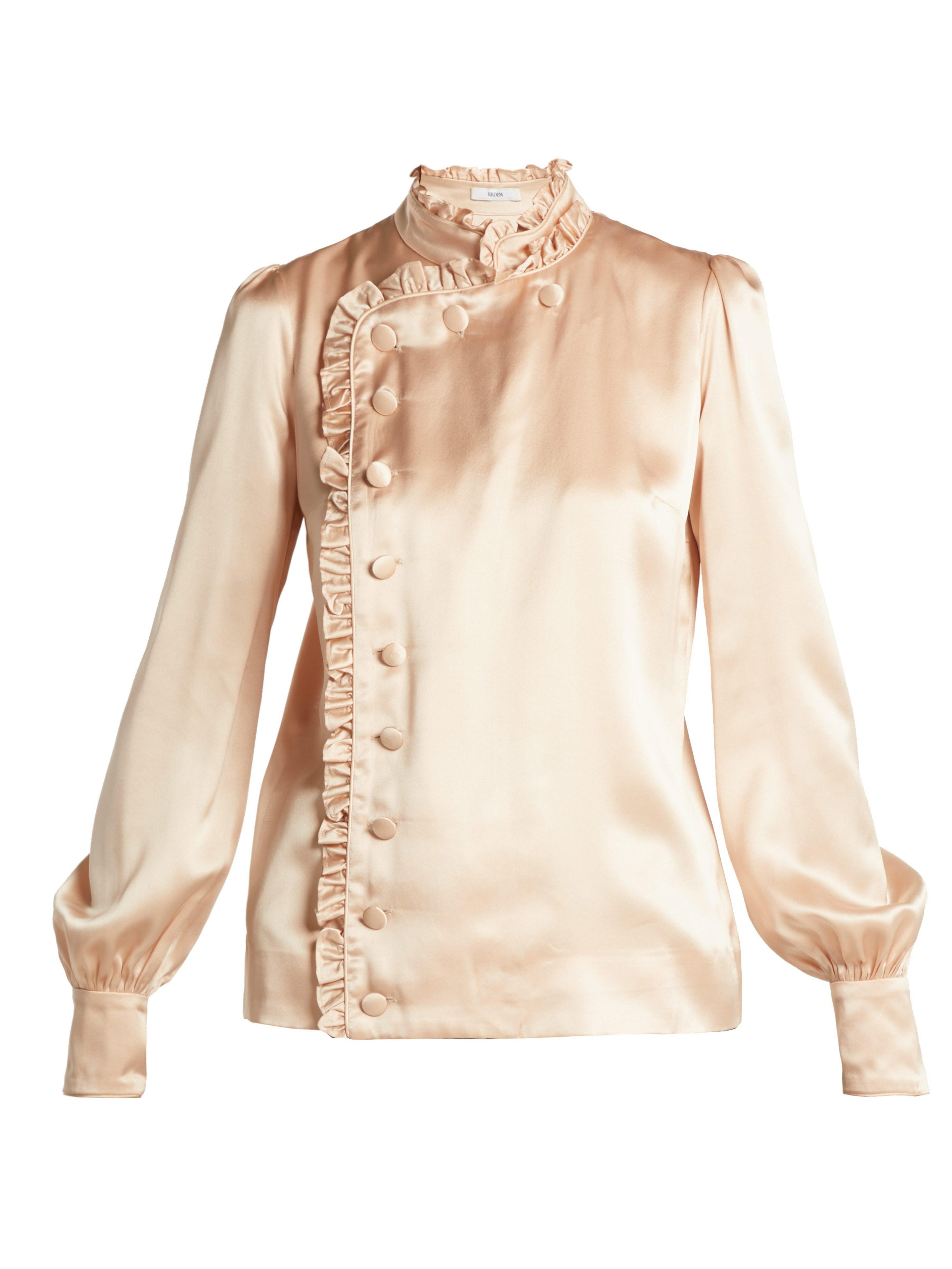52dc102ac8ccf Erdem - Natural Edlyn Ruffle Trimmed Silk Blouse - Lyst. View fullscreen
