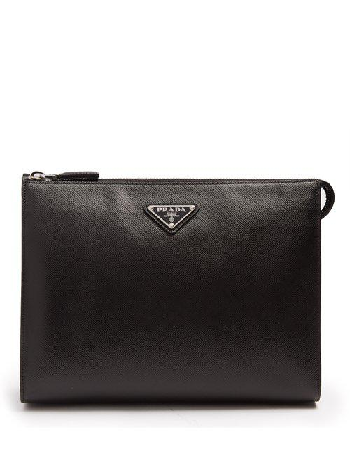 112a716c749b Prada Logo-plaque Saffiano-leather Washbag in Black for Men - Lyst