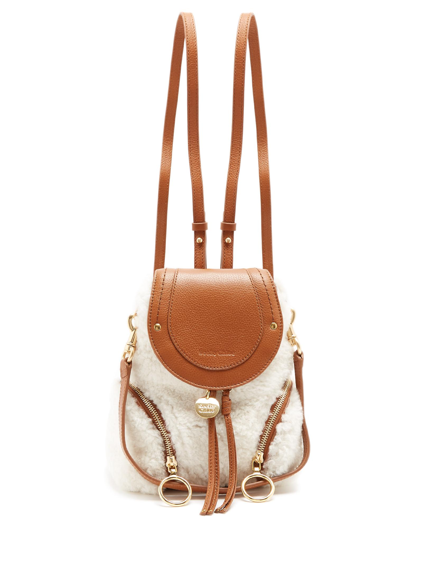 Olga Small Textured-leather Backpack - Tan See By Chlo EUXwSbfJz