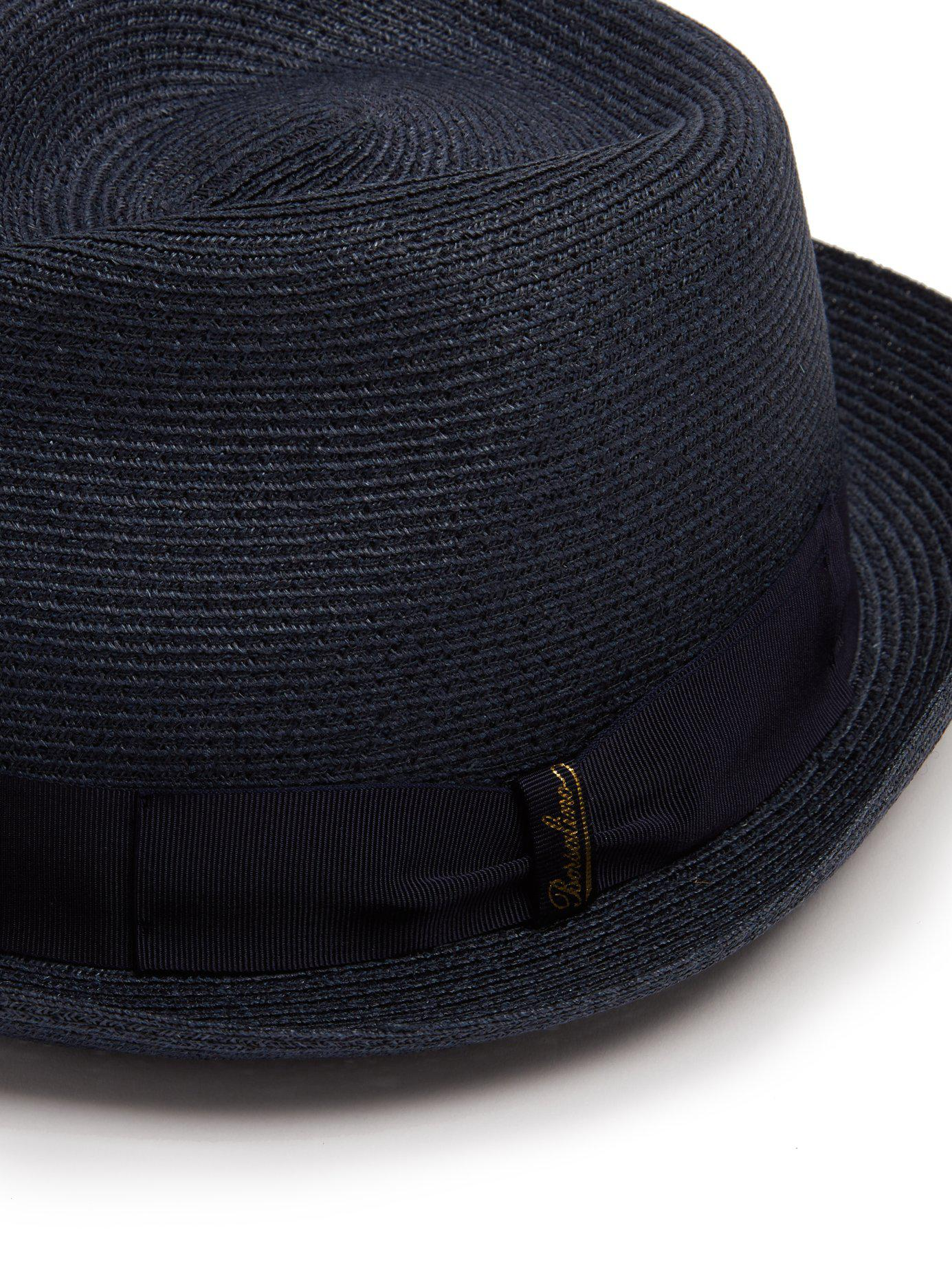609288ff555 Lyst - Borsalino Block Colour Panama Hat in Blue for Men