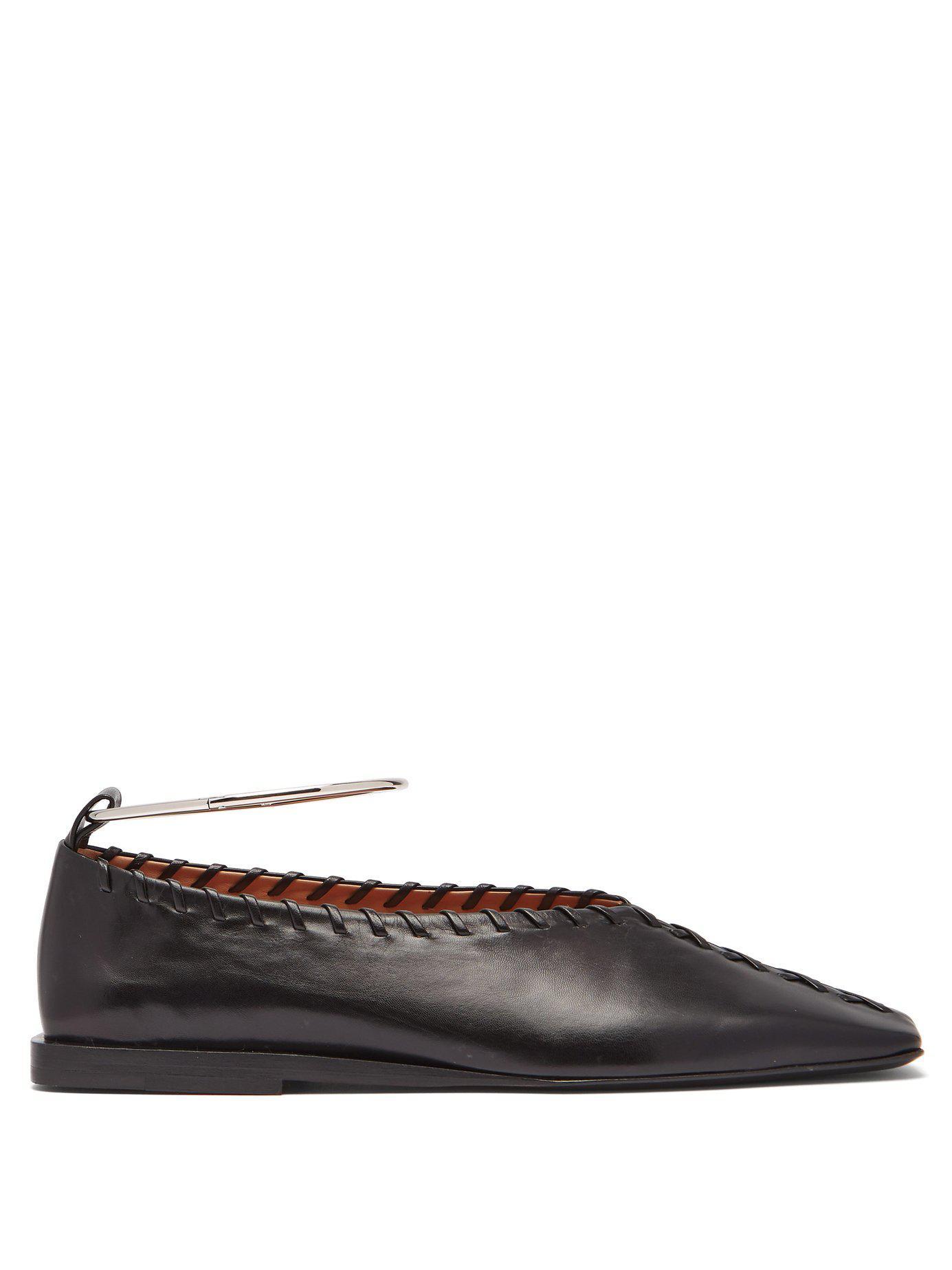 8877dd53105 Lyst - Jil Sander Whipstiched Leather Ballet Flats in Black