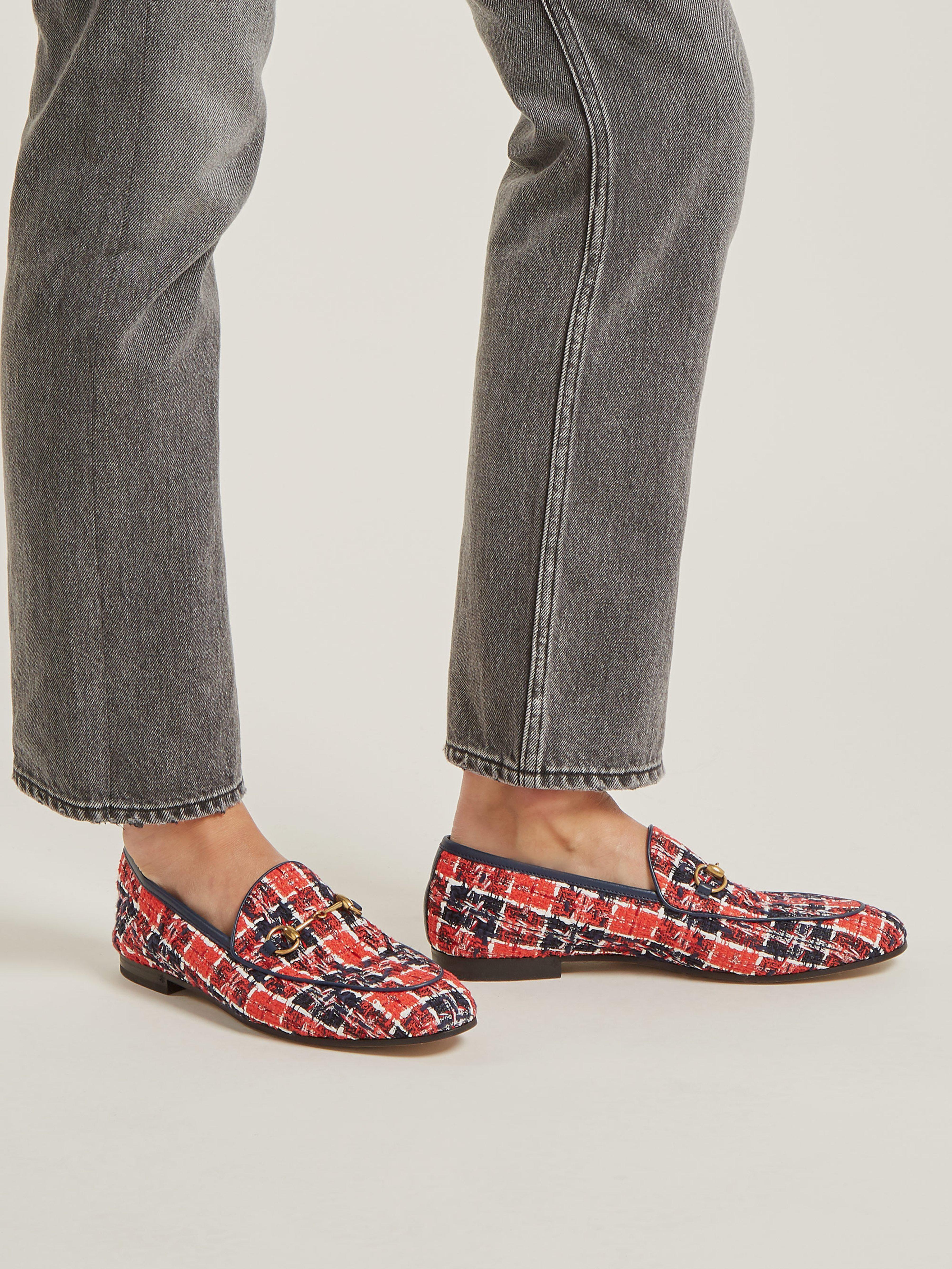 ea64b4ceabc Gucci - Red Jordaan Check Tweed Loafers - Lyst. View fullscreen