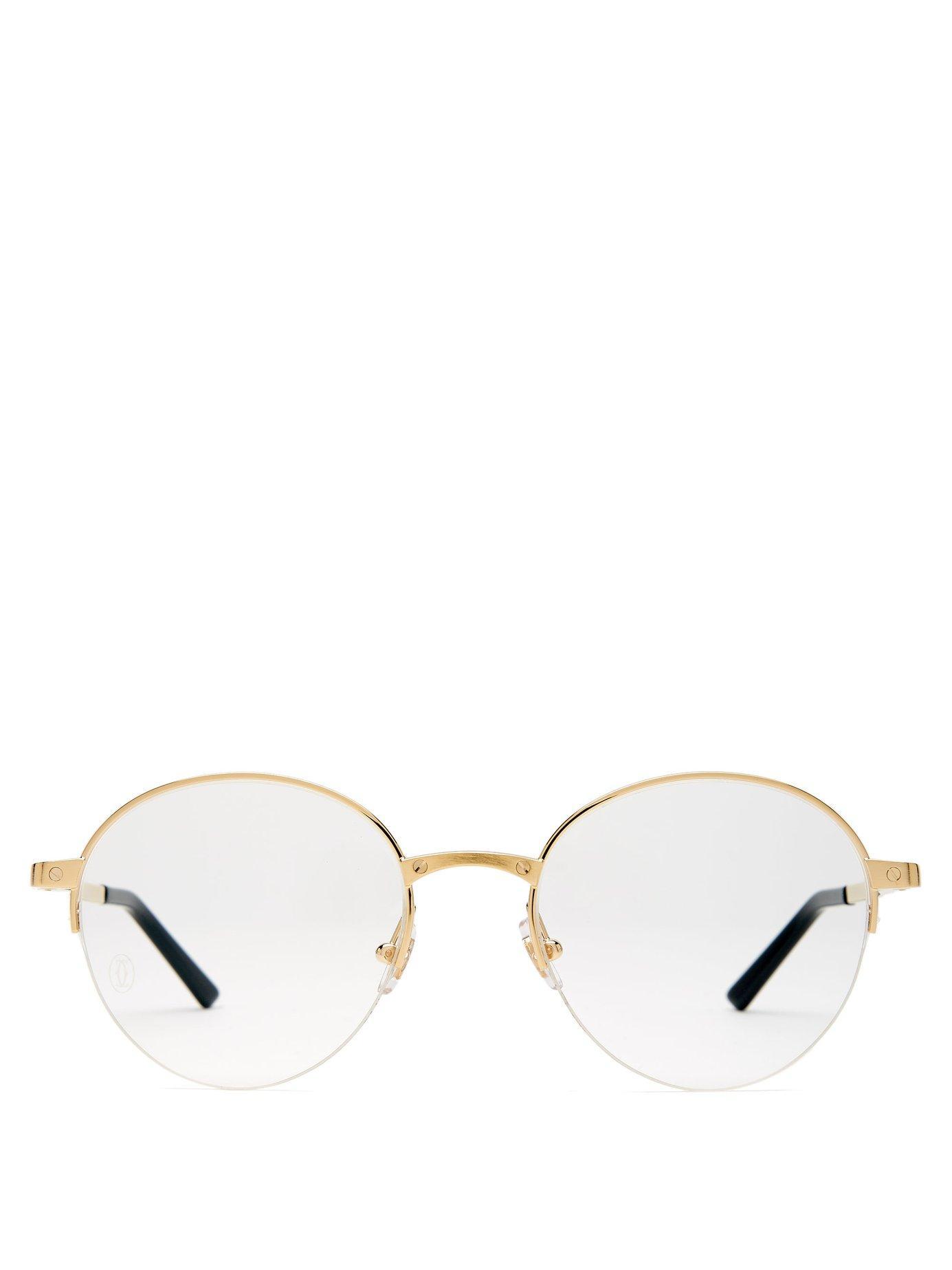 b4e26dba76 Cartier Screw Stud Round Frame Glasses in Metallic for Men - Lyst