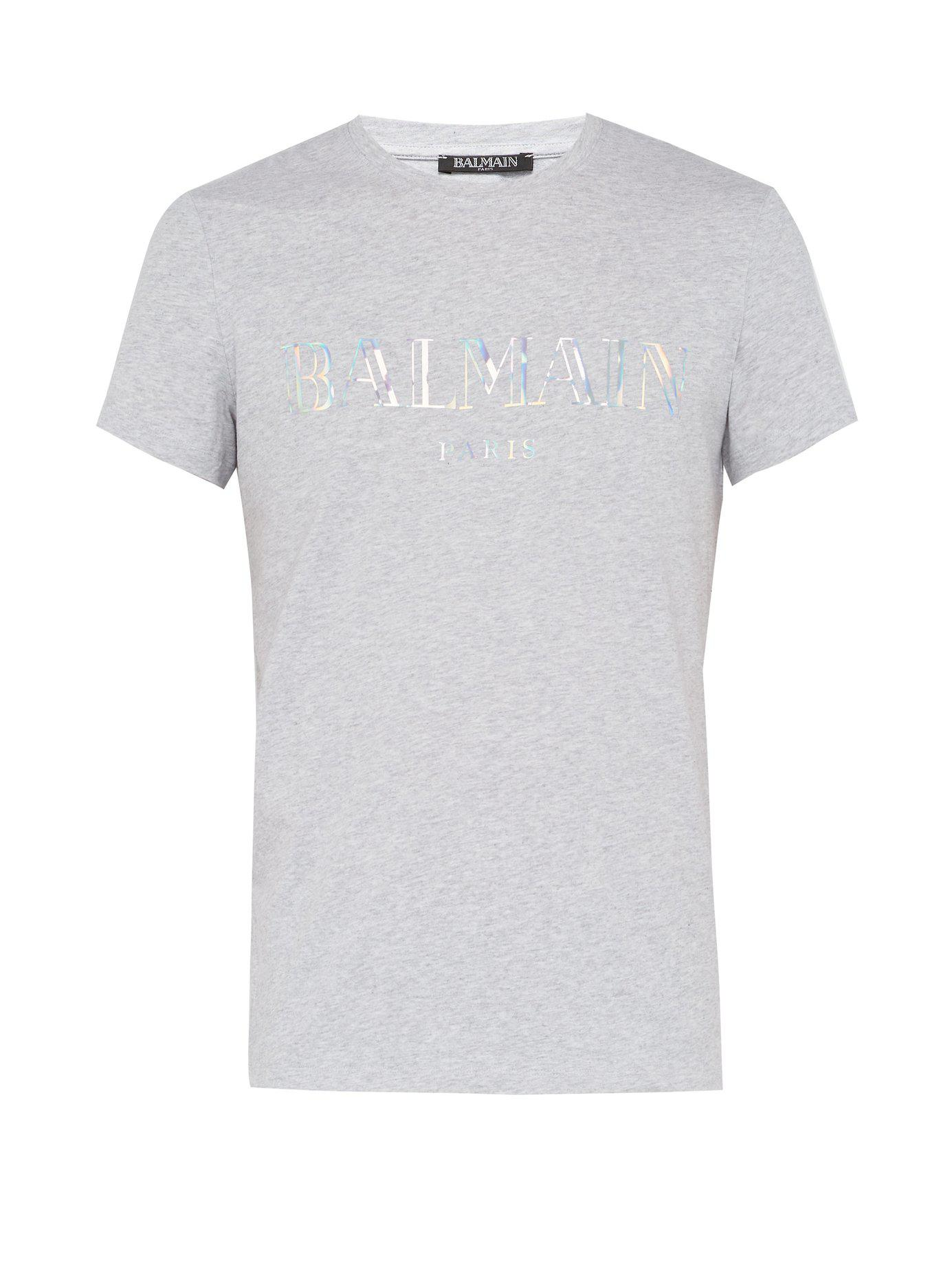 52e514ee Balmain - Gray Logo Print Cotton Jersey T Shirt for Men - Lyst. View  fullscreen