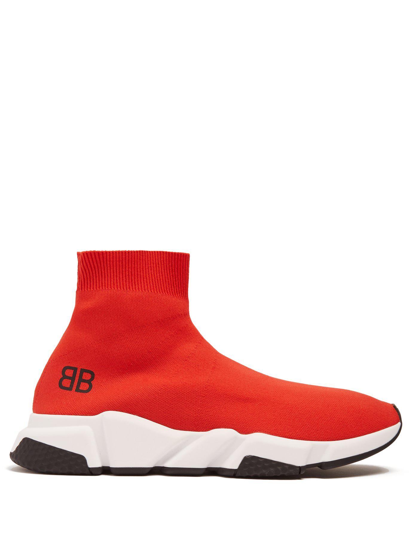 e5f5a2360ebb Lyst - Balenciaga Speed Sock Trainers in Red for Men - Save 21%