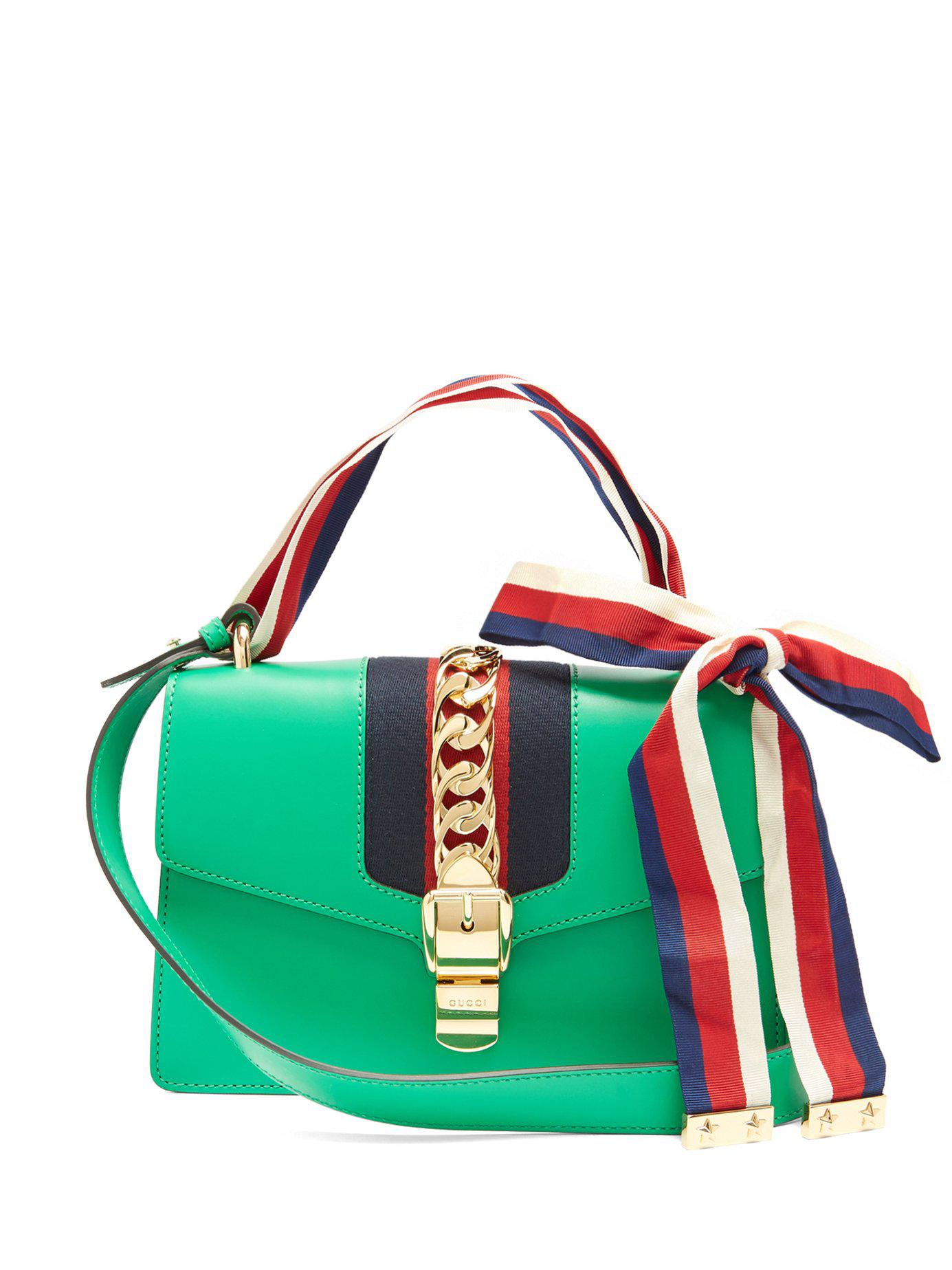 7c1b54958f92 Gucci Sylvie Leather Shoulder Bag in Green - Lyst