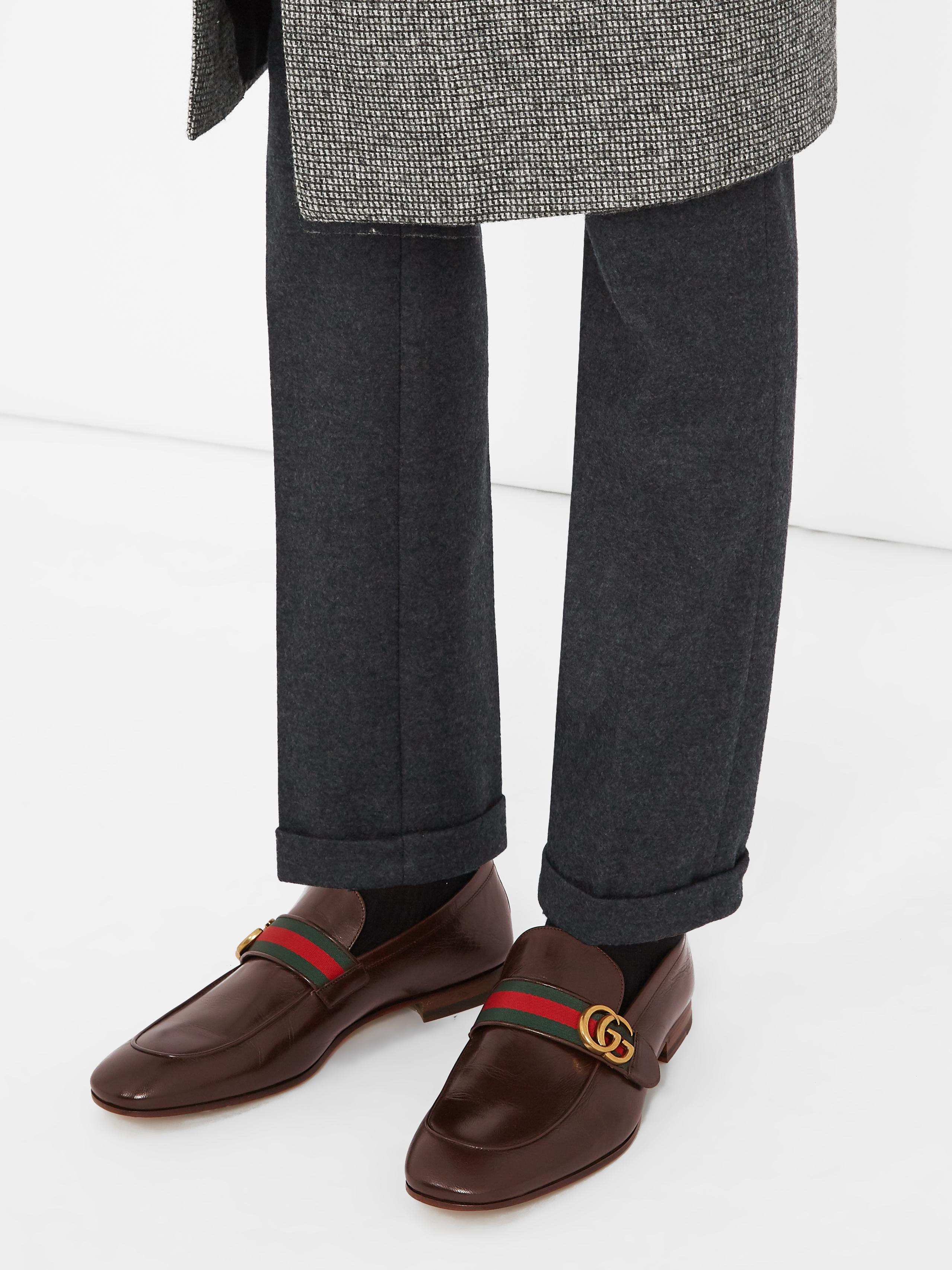 5d3ece43585 Gucci Donnie Gg Leather Loafers in Brown for Men - Lyst