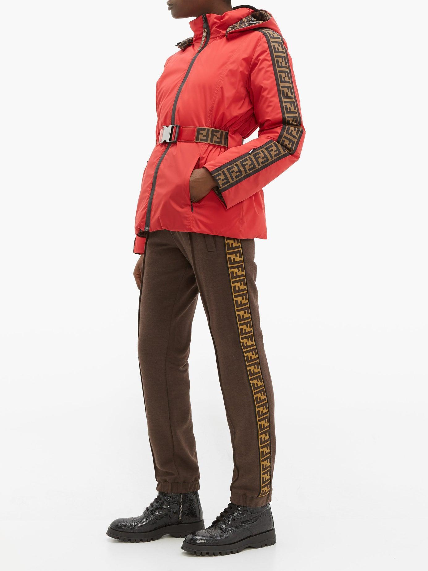 b611b563 Fendi Rama Ff Print Belted Reversible Ski Jacket in Red - Lyst