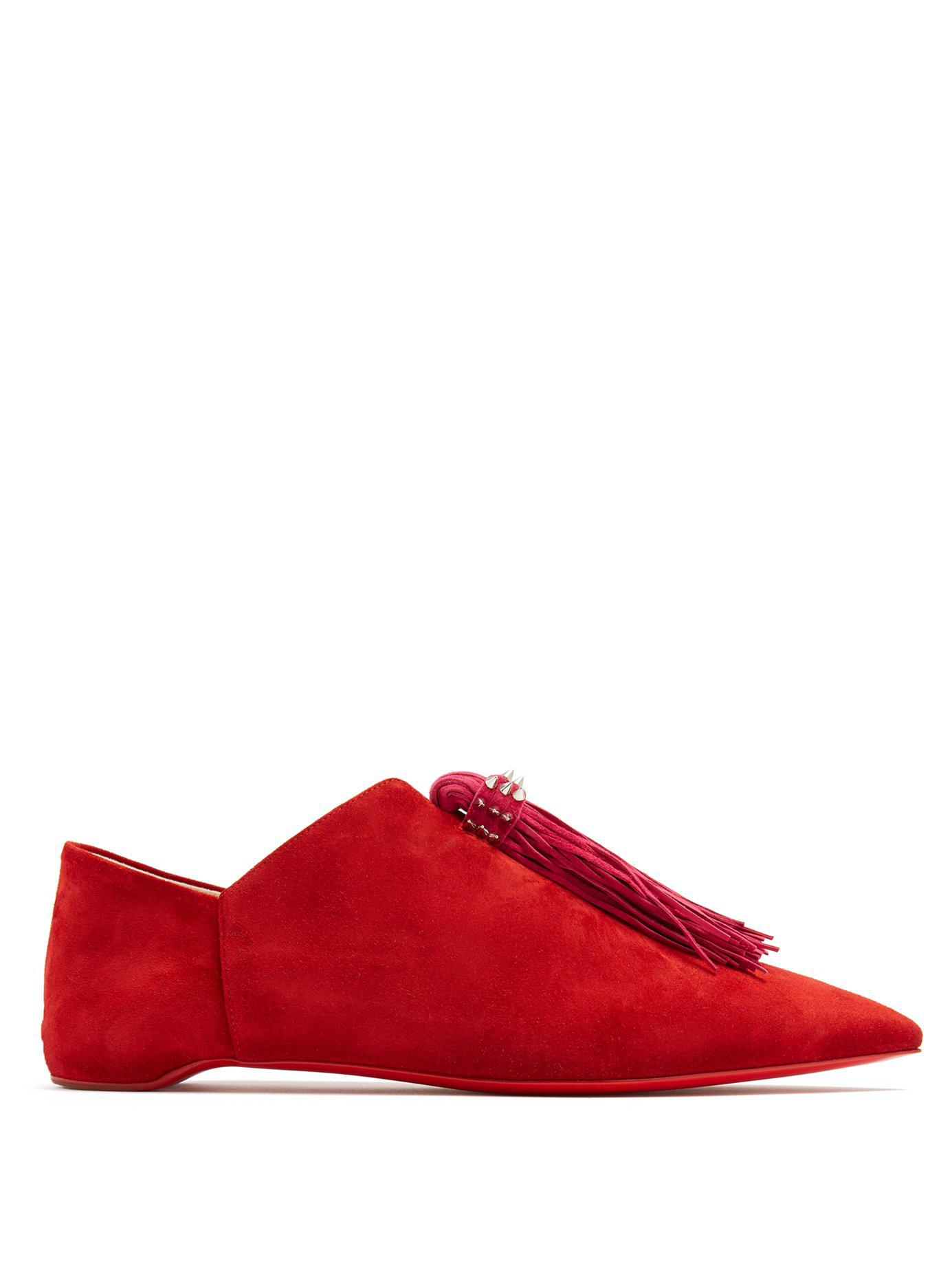 80a27e18d7fb Lyst - Christian Louboutin Medinana Fringed Suede Slippers in Red ...
