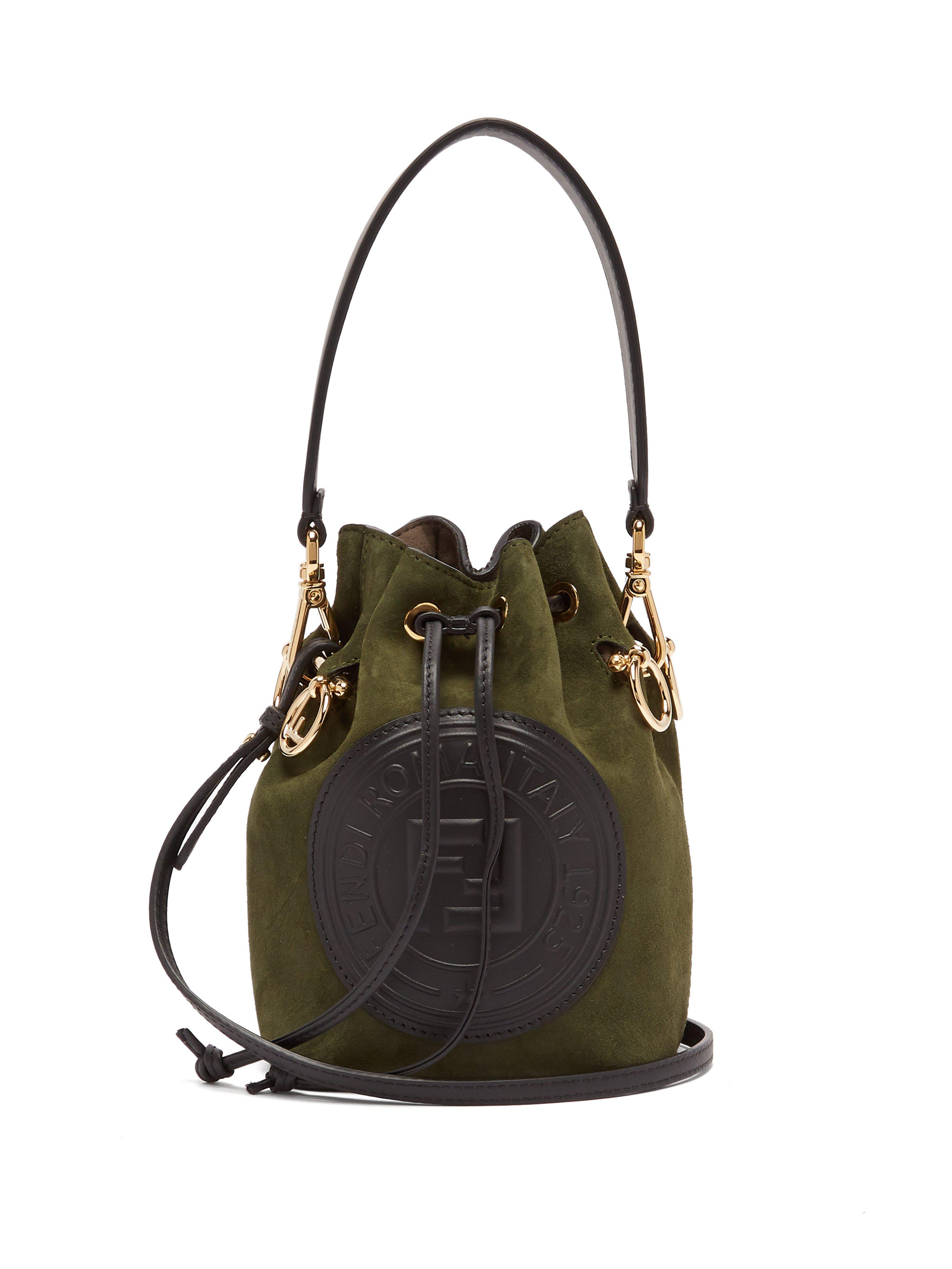 41c1ac5130c7 Fendi Mon Tresor Mini Suede Bucket Bag in Green - Lyst