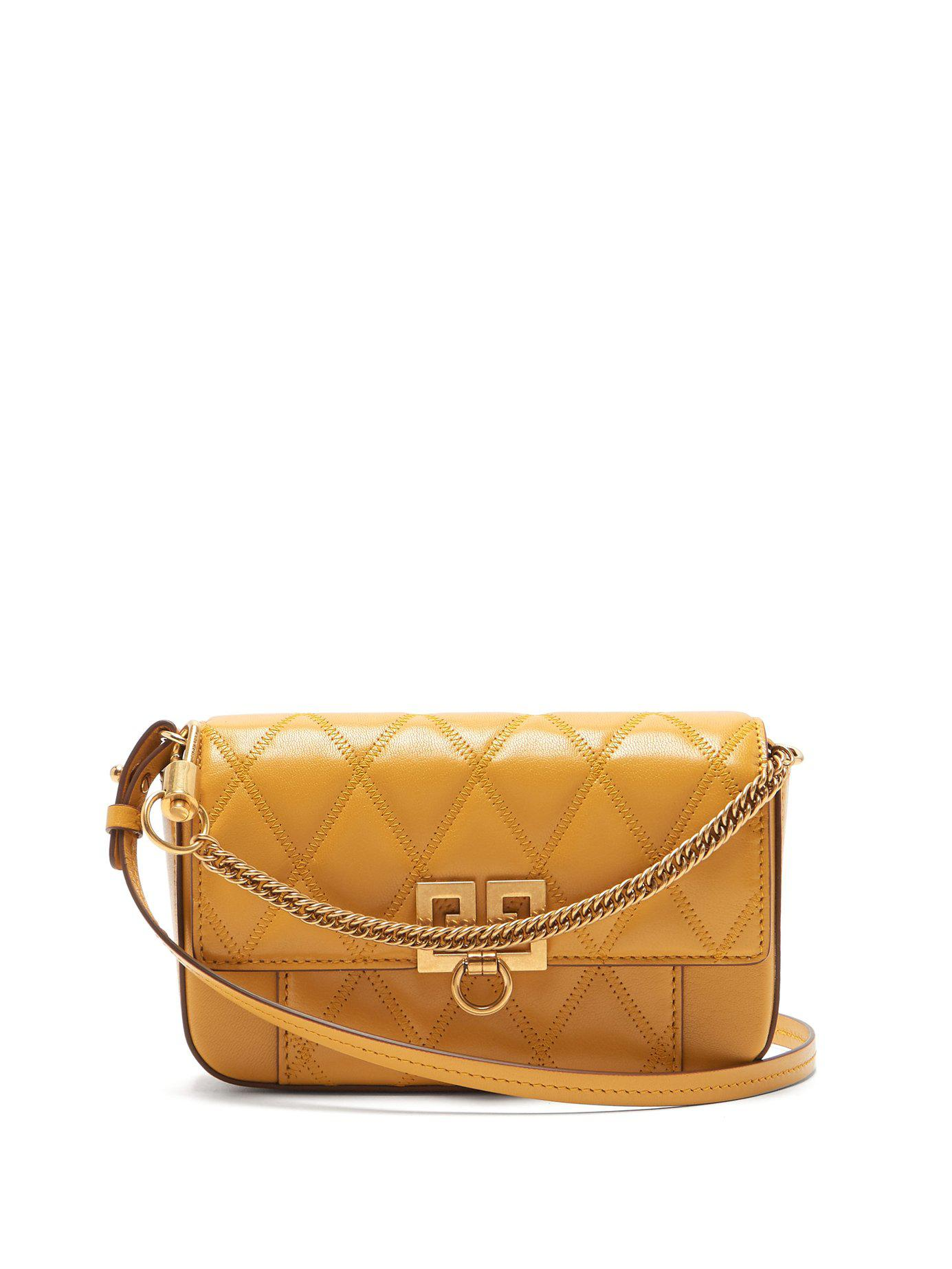 f66bbd17c70 Lyst - Givenchy Pocket Quilted Leather Cross Body Bag in Yellow ...