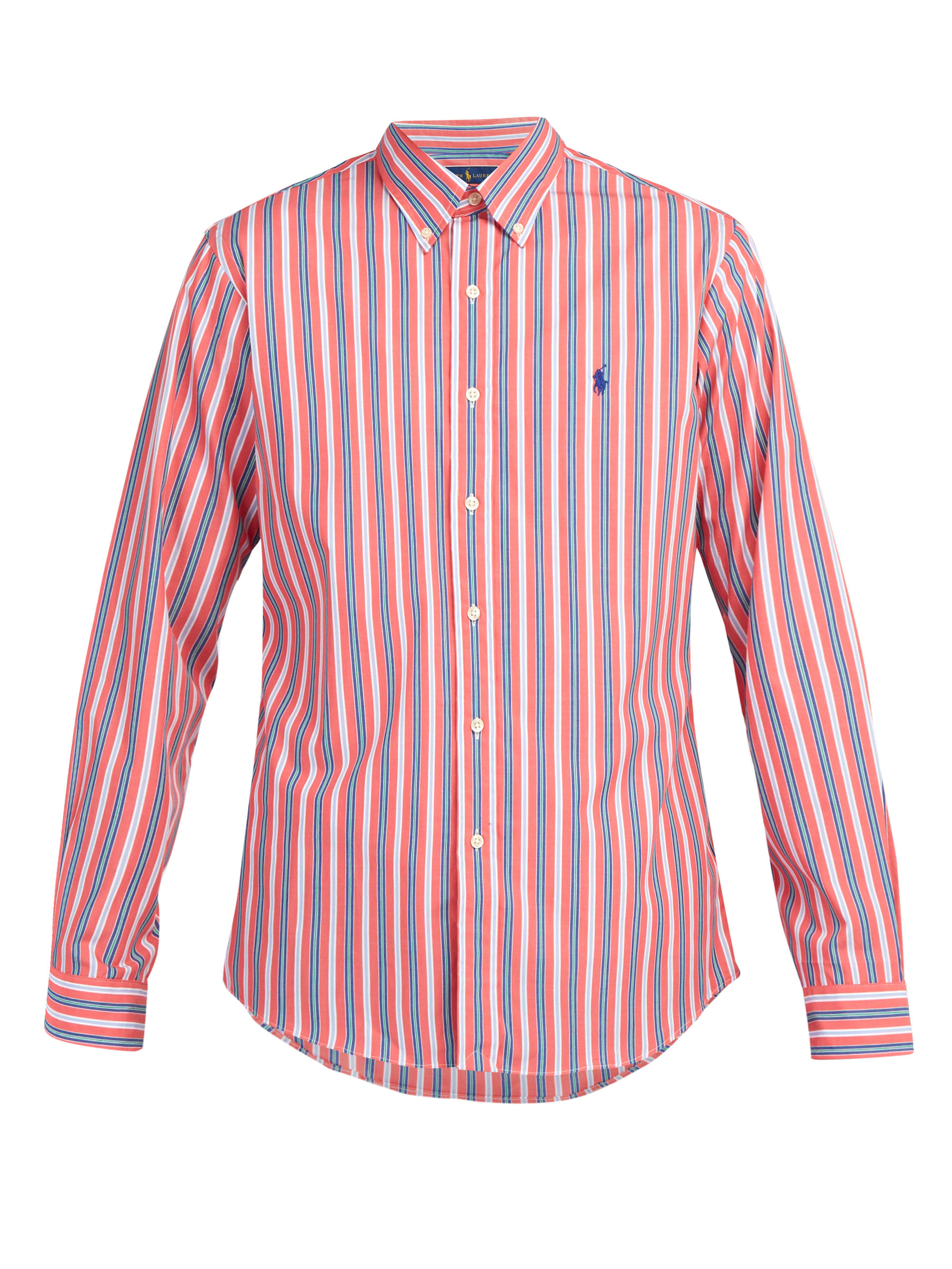 61449458b8 Polo Ralph Lauren Slim Fit Striped Cotton Poplin Shirt in Red for ...