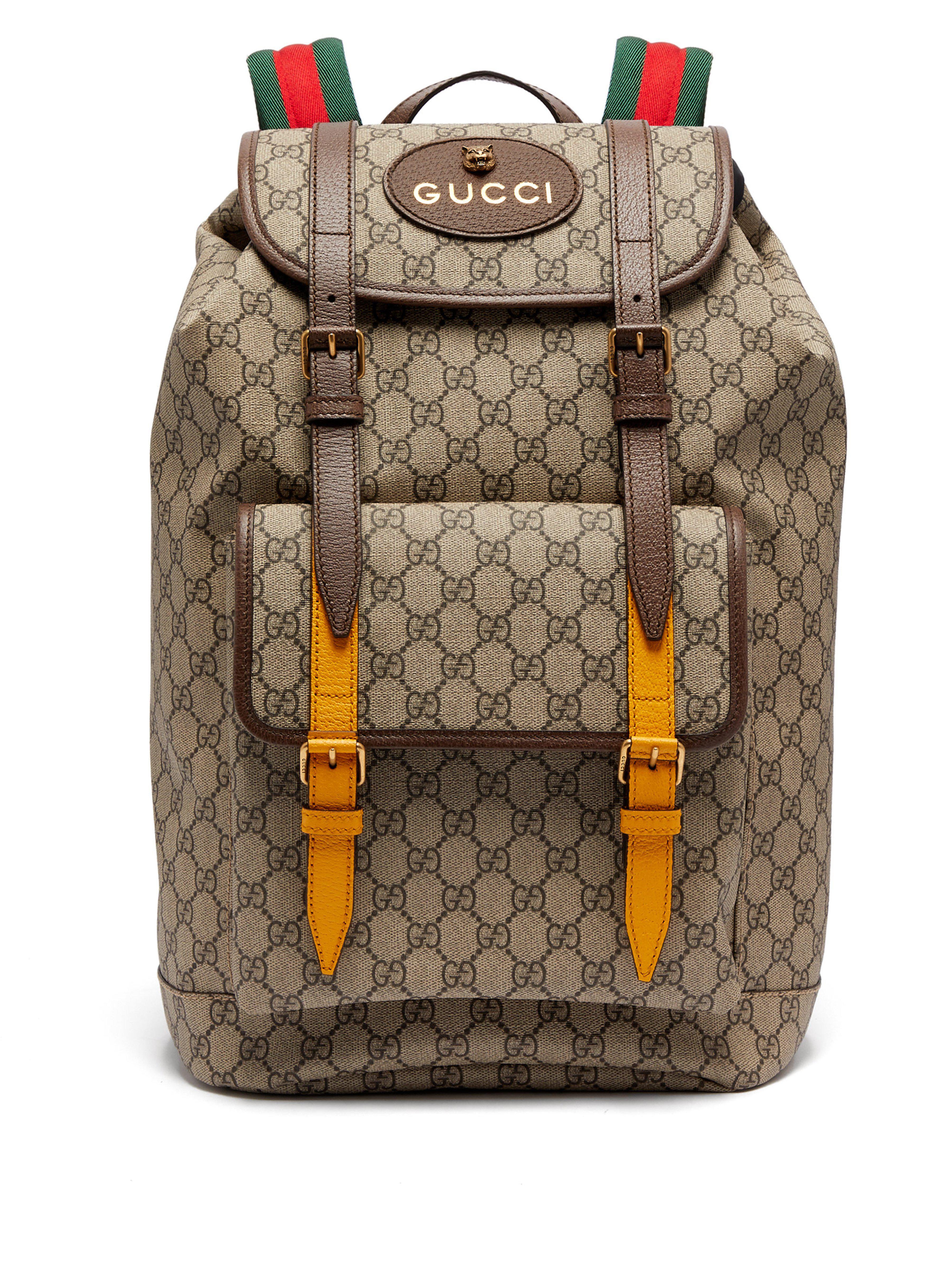 123386acc84a Lyst - Sac à dos en toile et cuir à imprimé Suprême GG Gucci pour ...