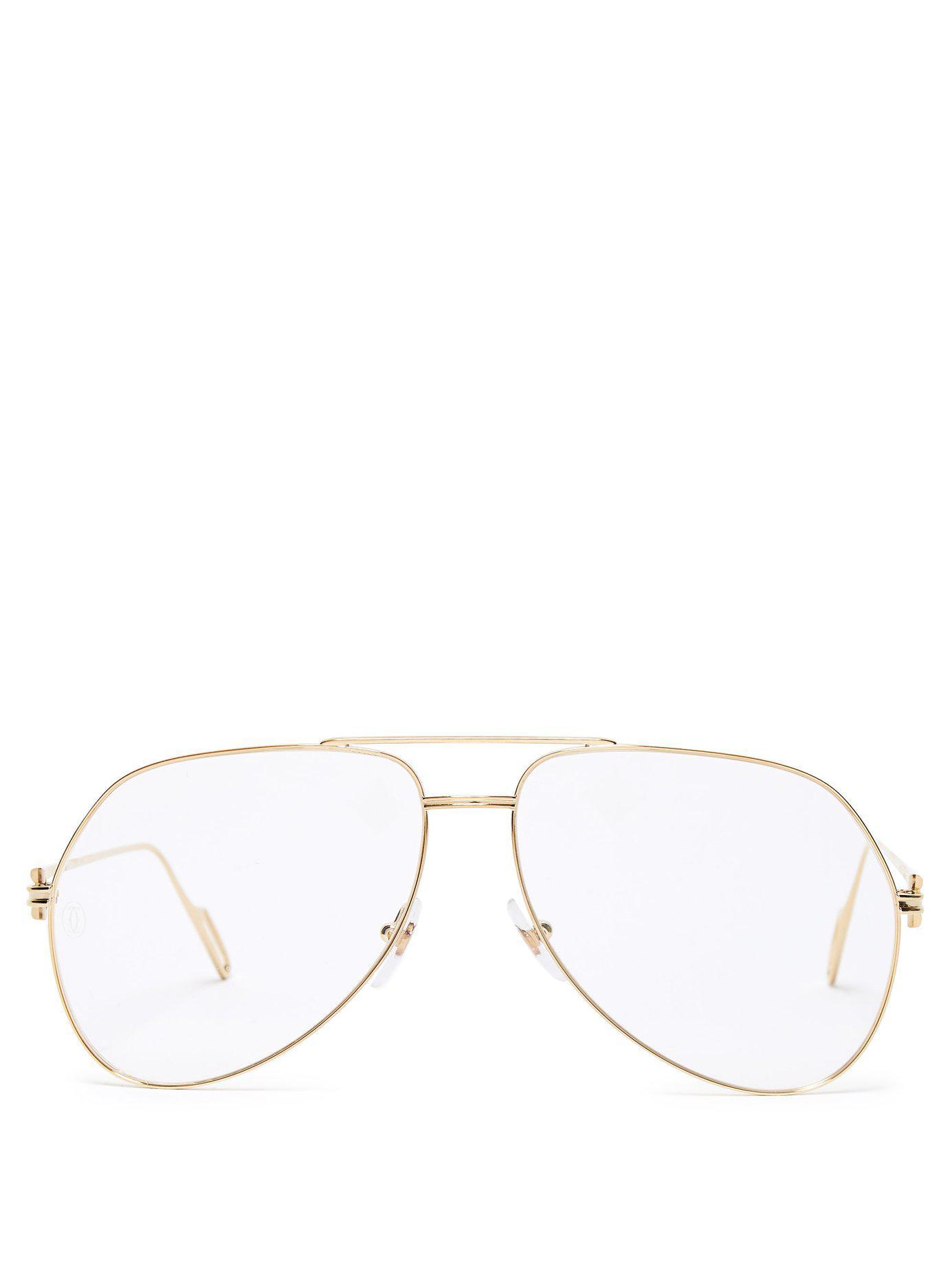 c2335aeda8c Lyst - Cartier Première De Cartier Aviator Glasses in Metallic for Men