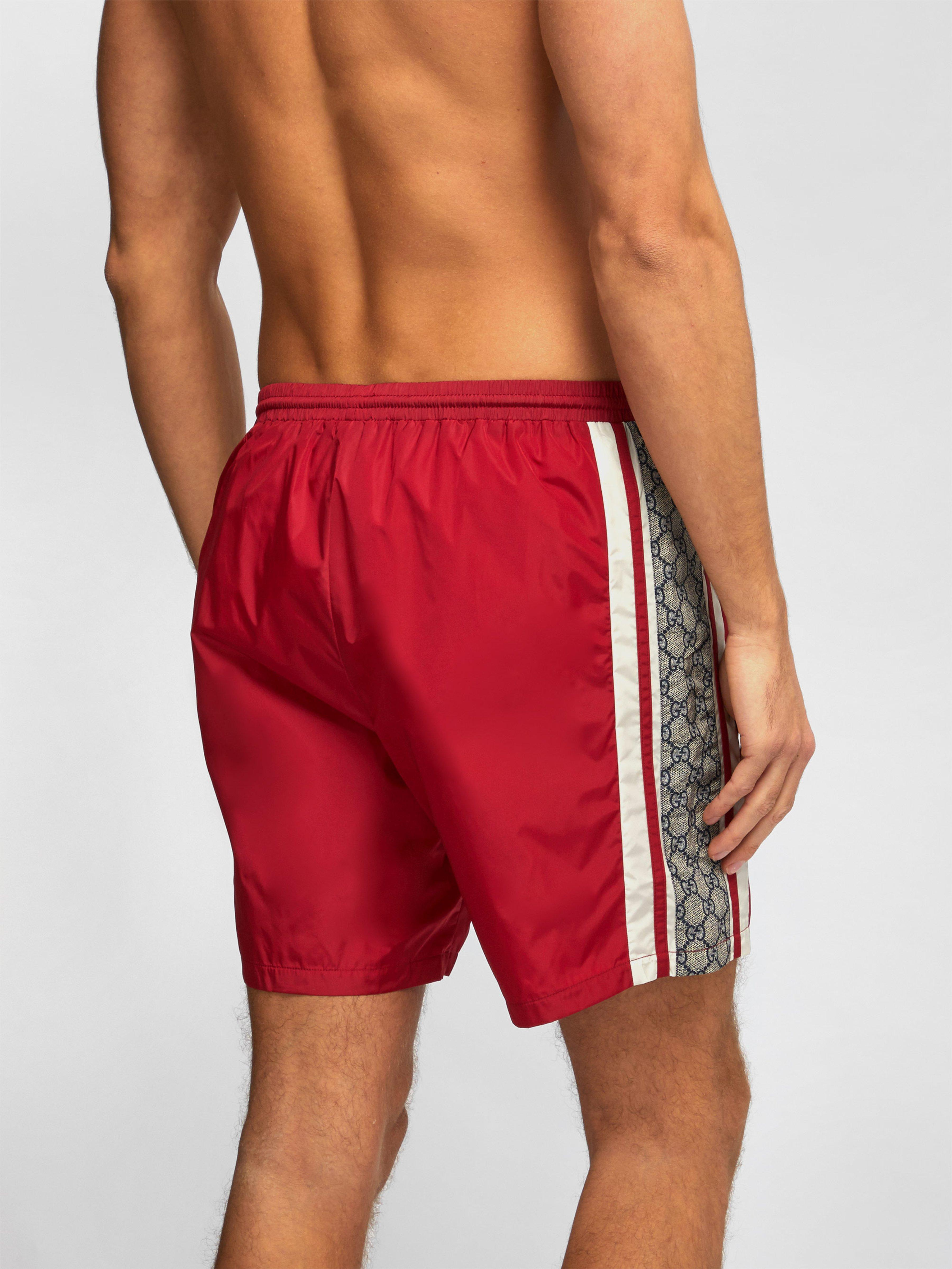 2cfea8cdc6 Gucci - Red GG Swim Shorts for Men - Lyst. View fullscreen