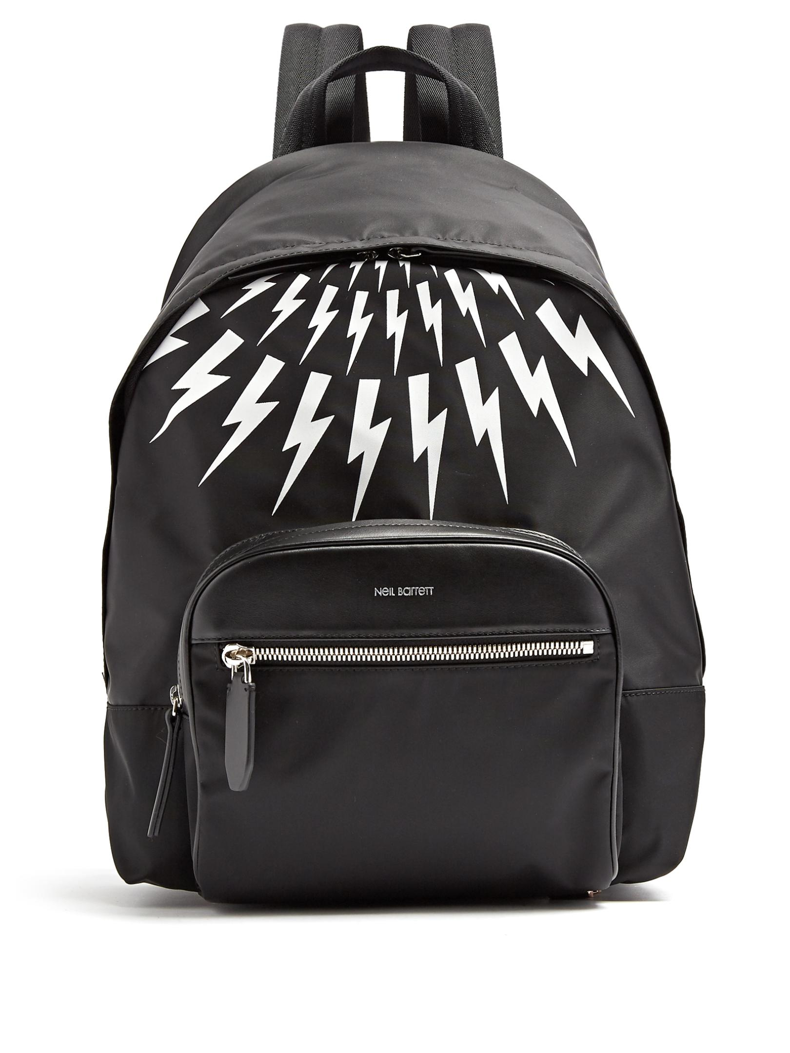 Neil Barrett Thunderbolt Leather-trimmed Nylon Backpack in Black for ... fecdc58f23235