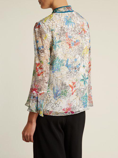 397d3dac7e0242 Lyst - Peter Pilotto Neck-tie Floral-print Silk Blouse