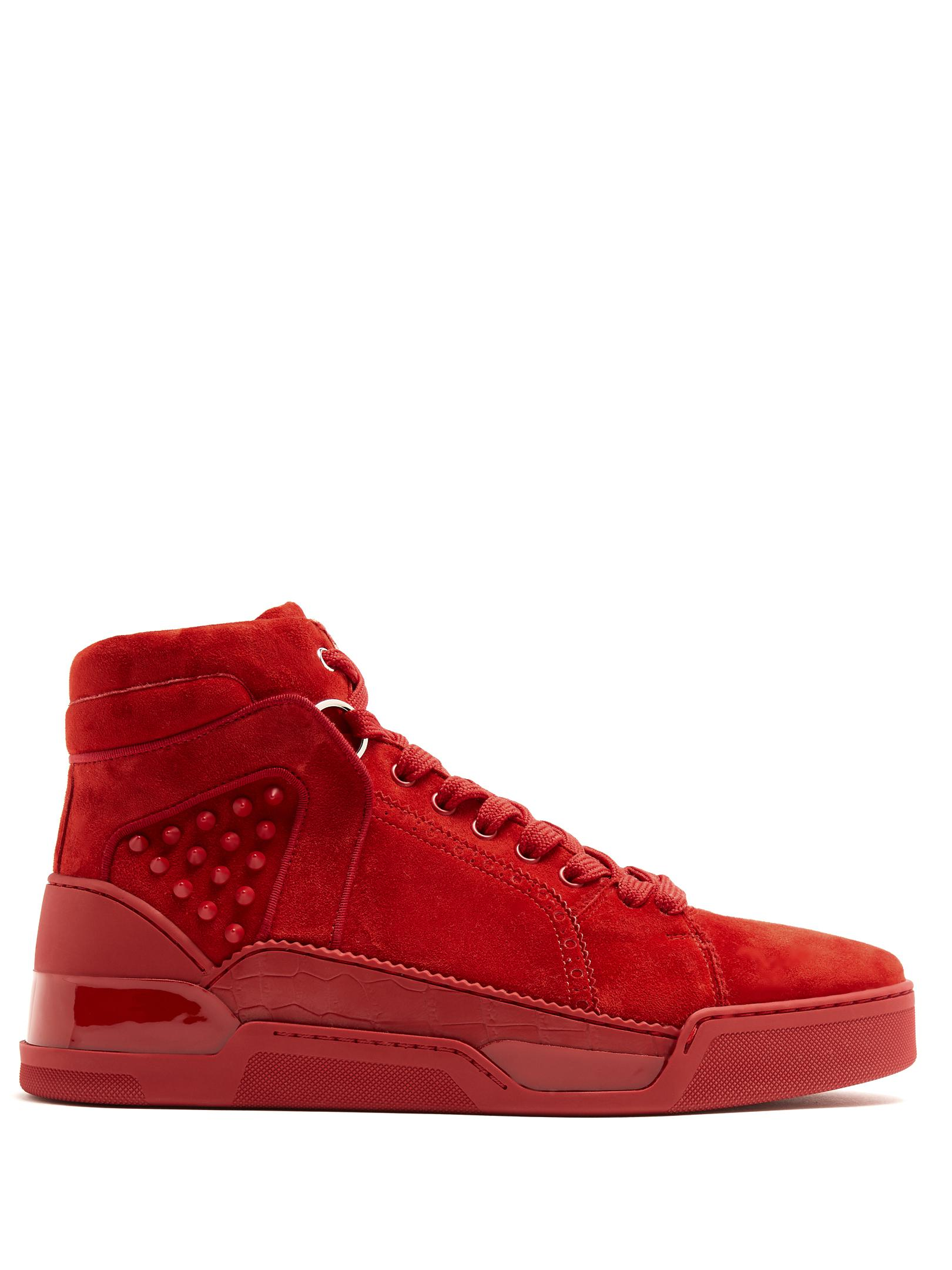 Christian Louboutin Loubikick suede leather sneakers high-top trainers