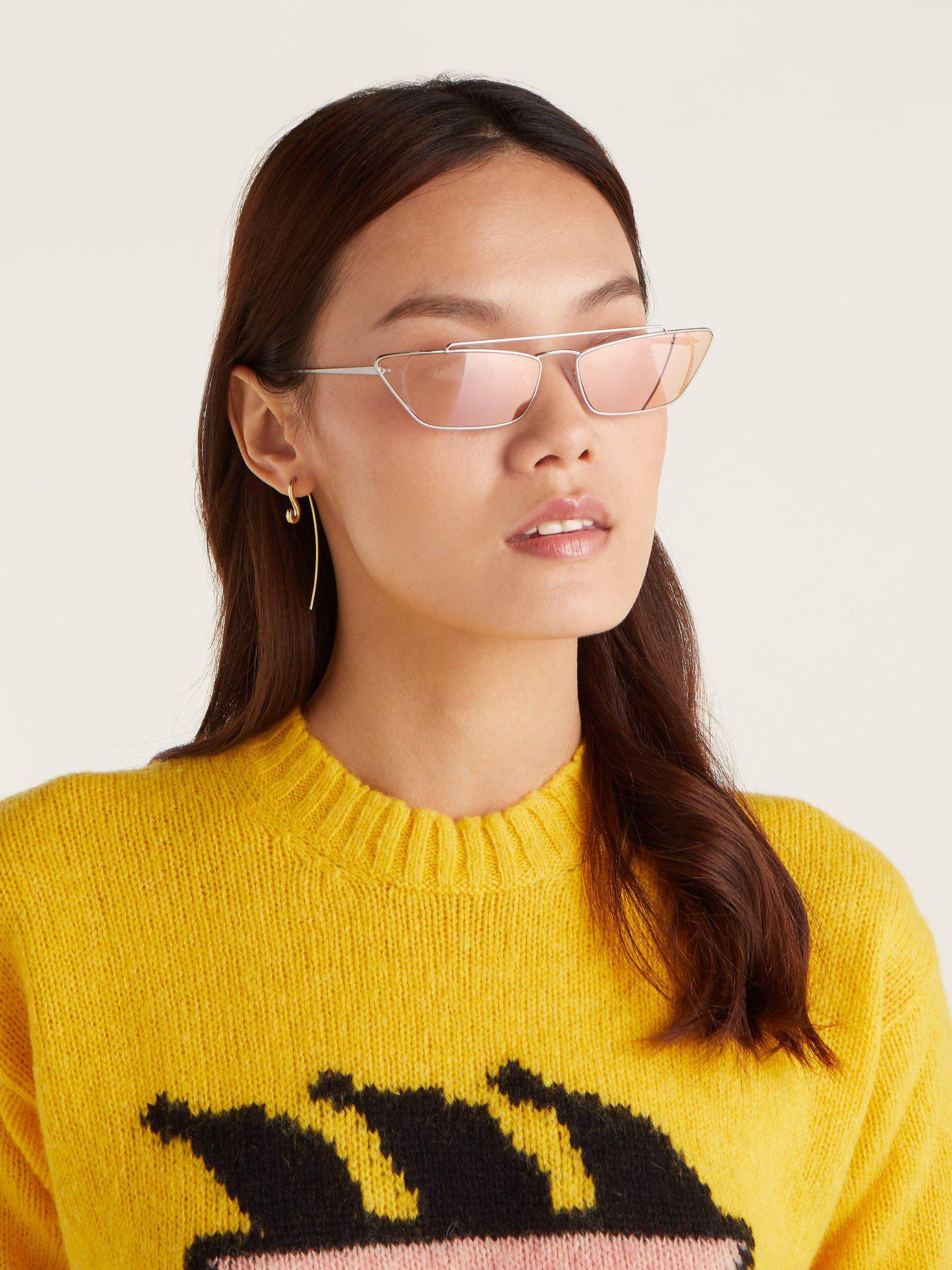 d87e529d150 Lyst - Prada Ultravox Rectangular Frame Metal Sunglasses in Pink